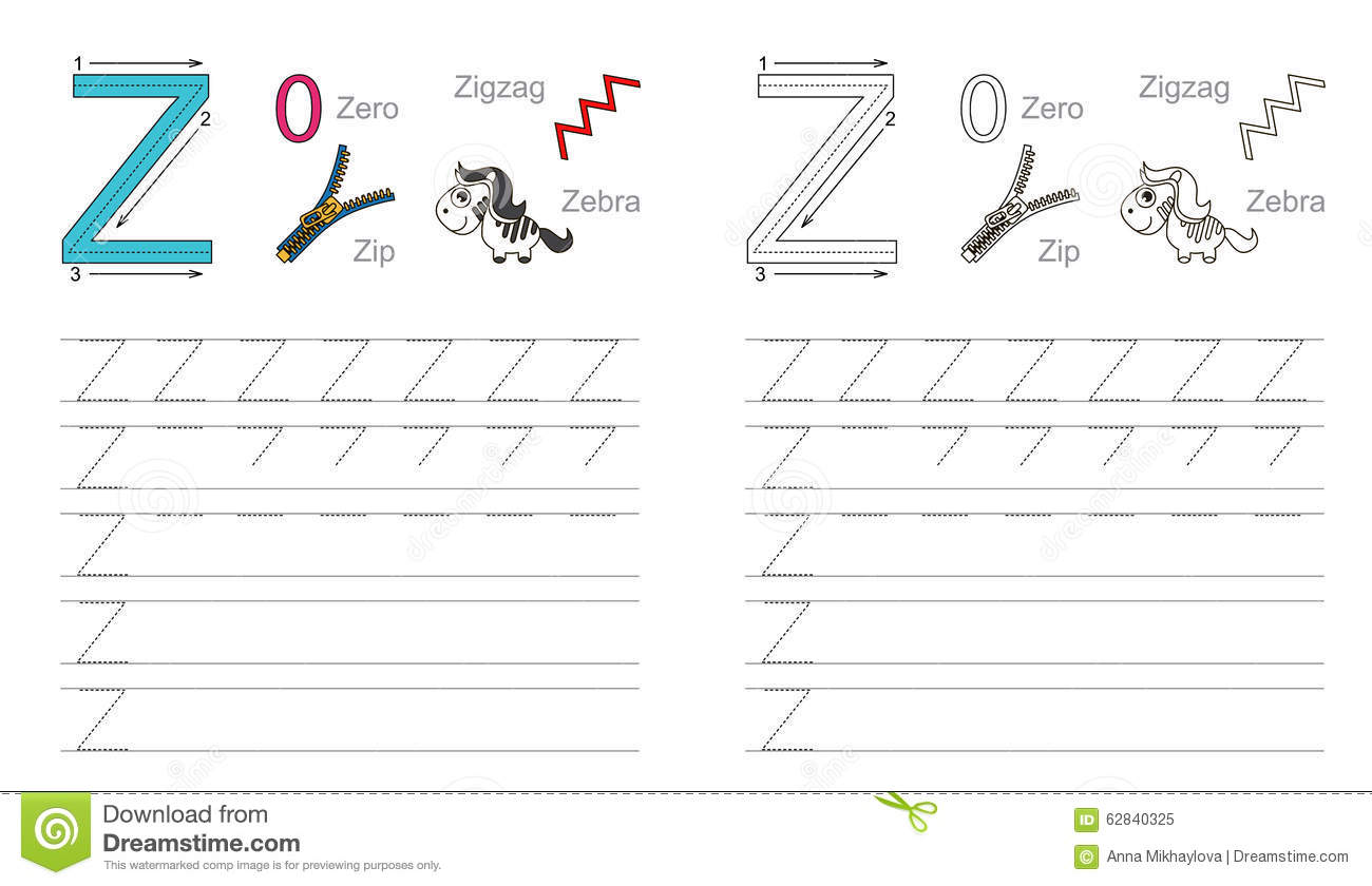 Vector exercise illustrated alphabet. Learn handwriting. Page to be ...