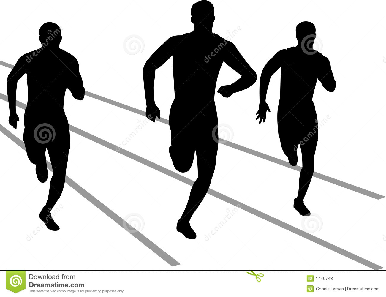 Illustration of track and field athletes competing in a race...eps ...