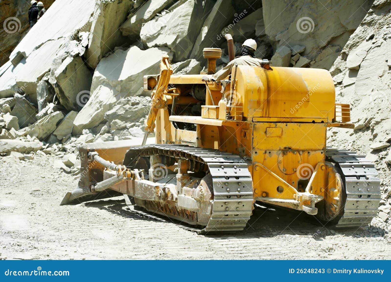 Track Type Loader Bulldozer Excavator At Road Work Stock