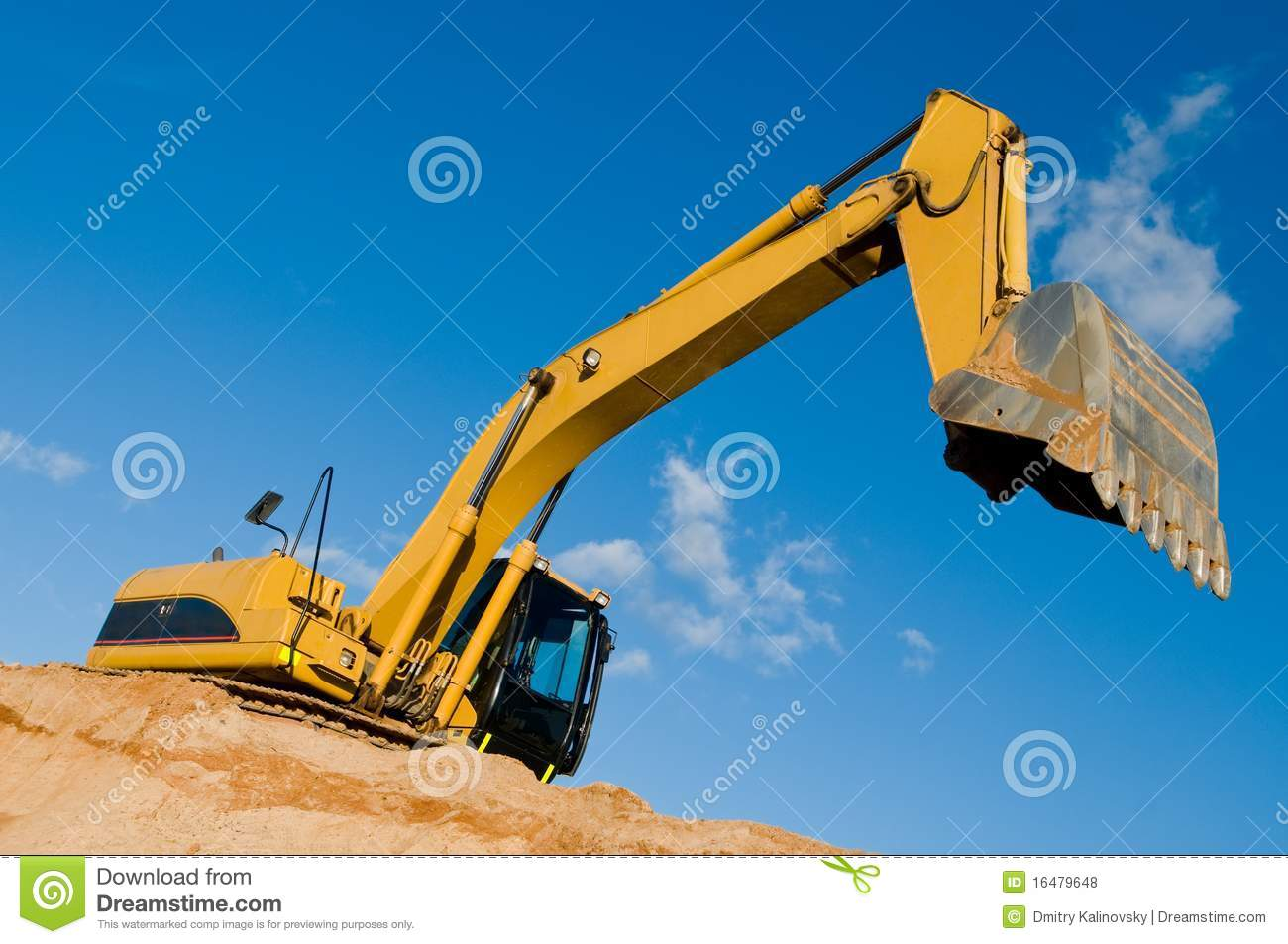 Track Type Loader Excavator At Sand Royalty Free Stock