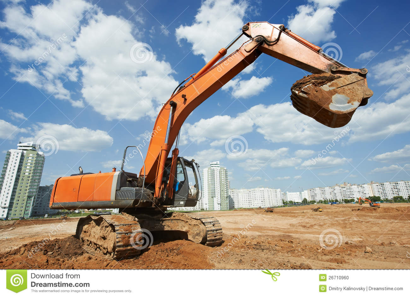 Track Type Loader Bulldozer Excavator At Work Royalty Free