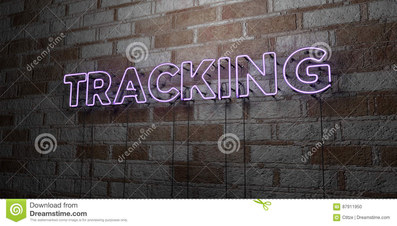 tracking glowing neon sign on stonework wall 3d rendered royalty