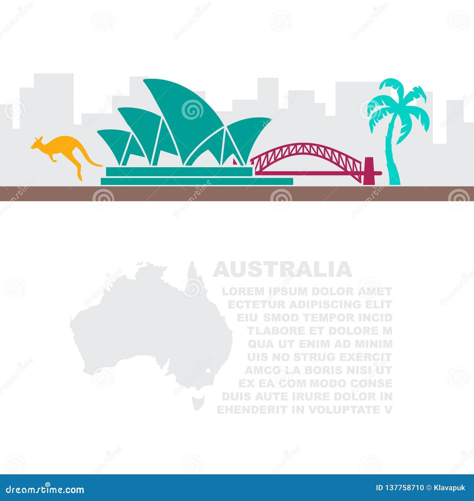 Tract avec une carte et des symboles de l Australie et de l endroit pour le texte