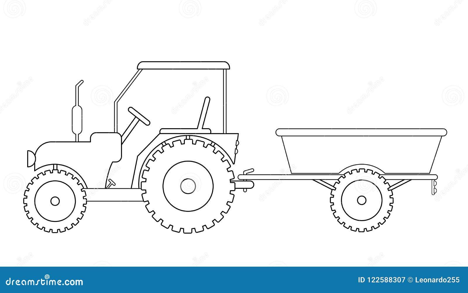 Tracteur avec le dessin de remorque illustration de vecteur illustration du retrait - Dessin anime avec tracteur ...