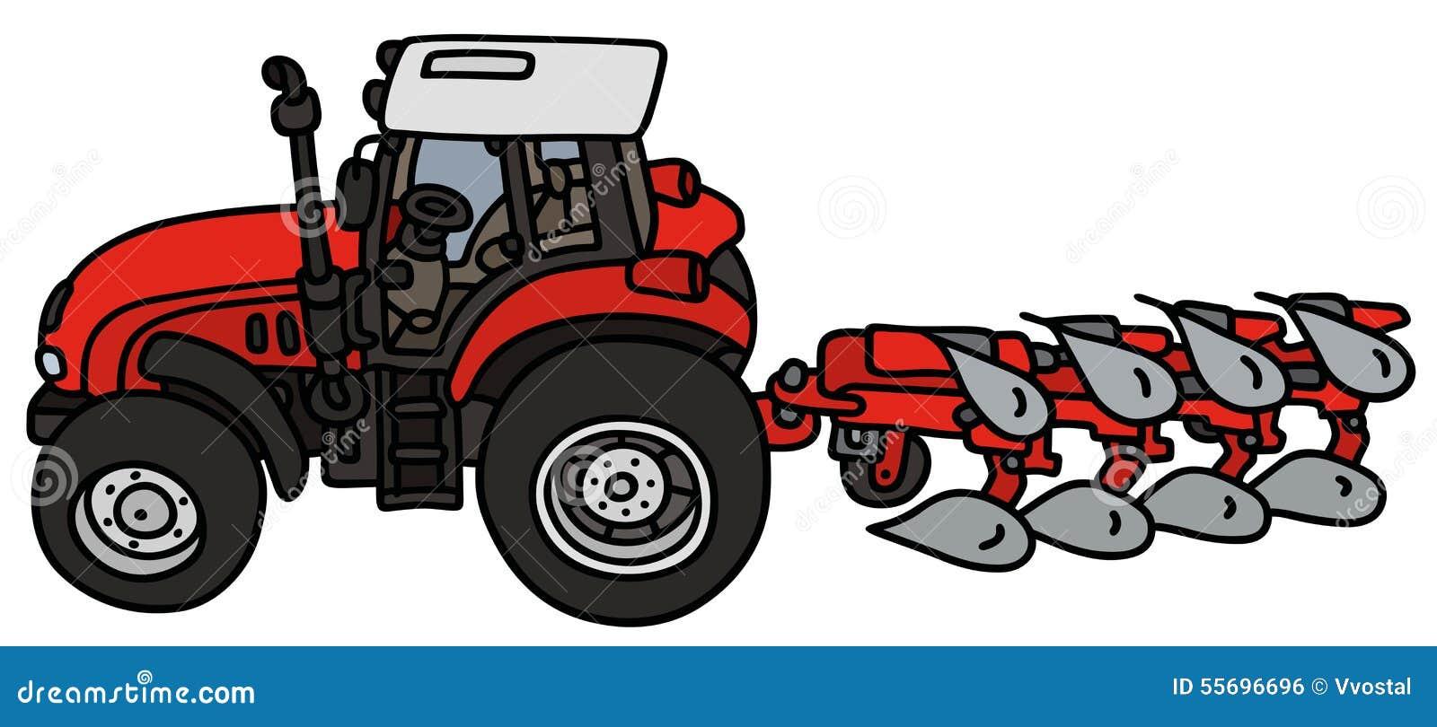 Tracteur Avec Une Charrue Illustration Stock Illustration Du