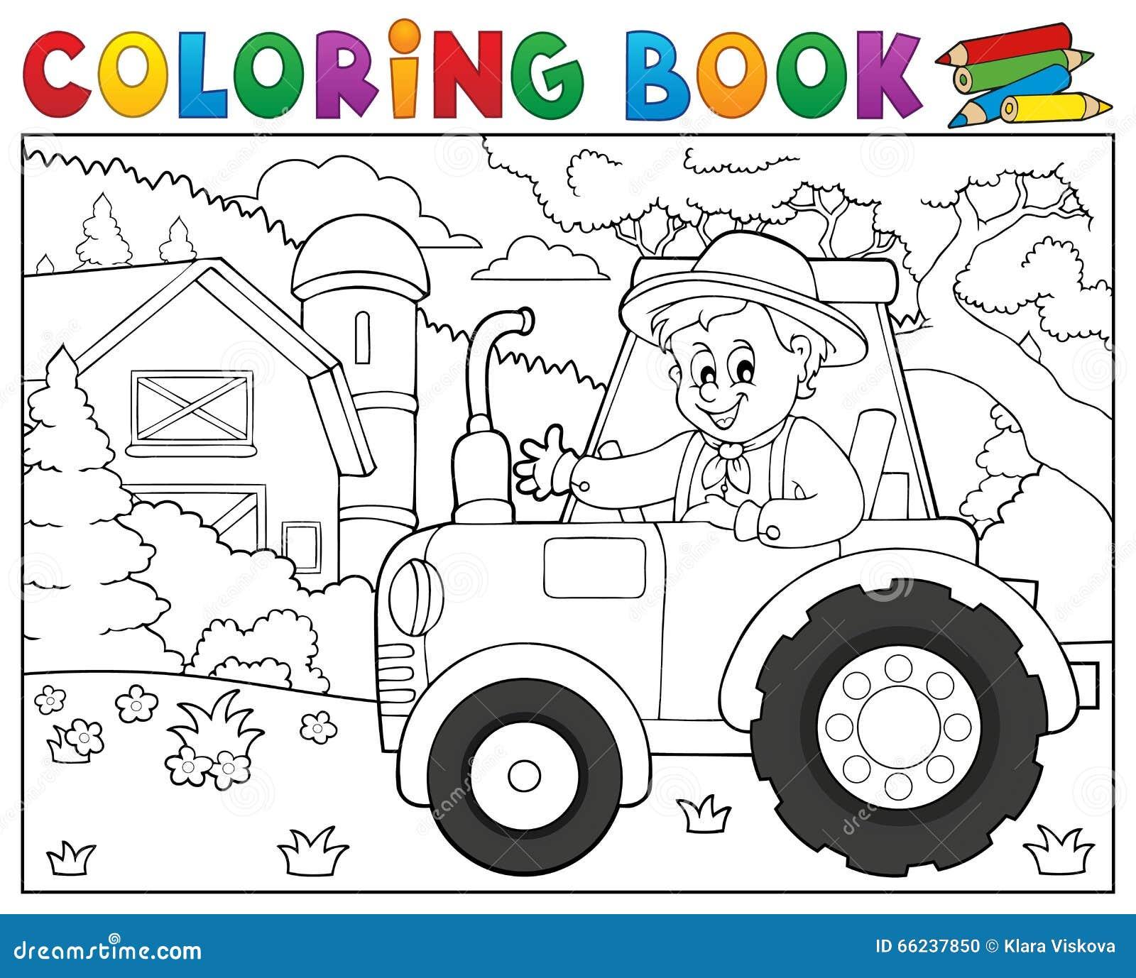 Tracteur De Livre De Coloriage Pres Du Theme 1 De Ferme Illustration
