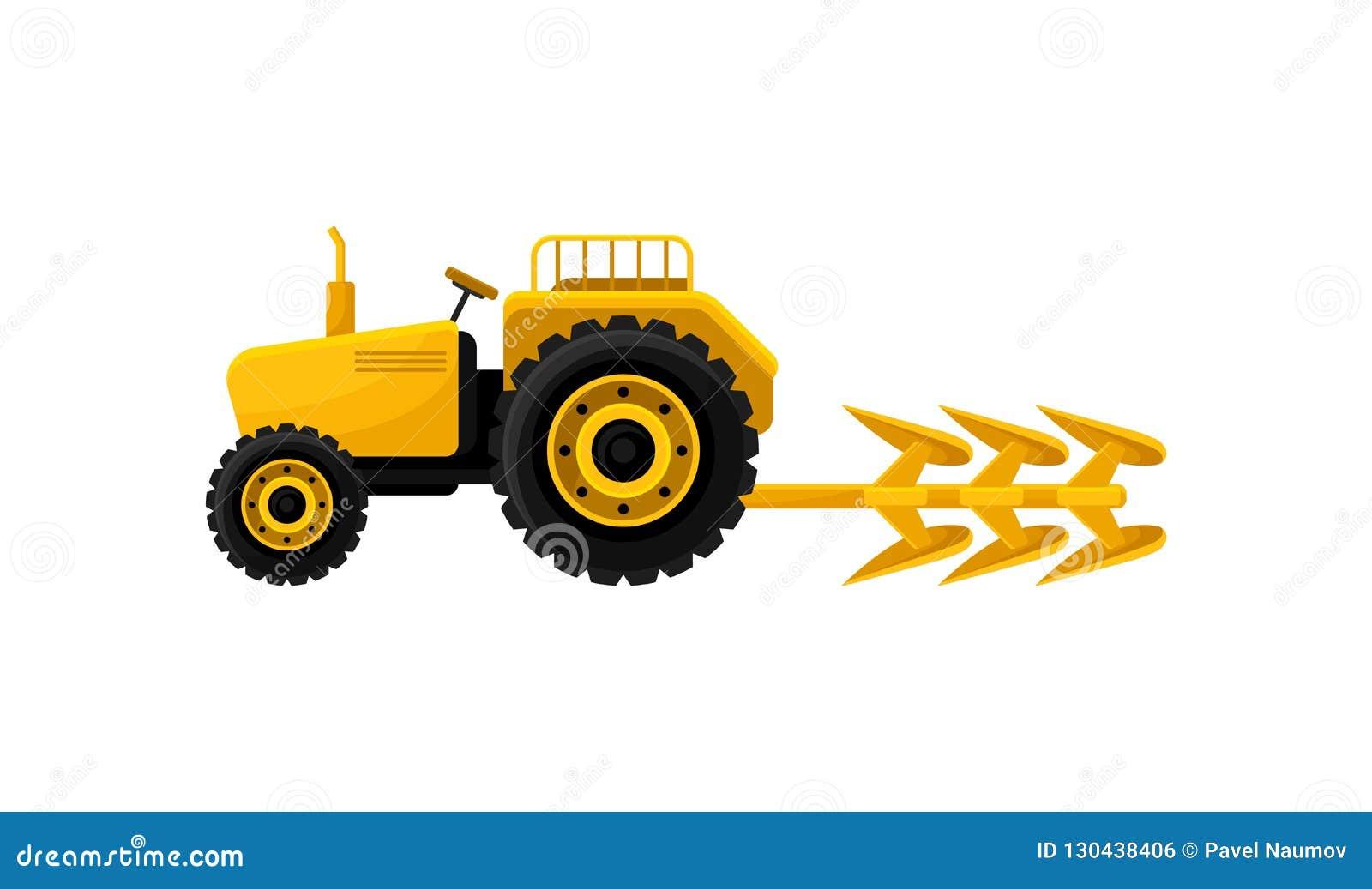 Tracteur Jaune Ouvert Avec La Charrue Équipement Industriel