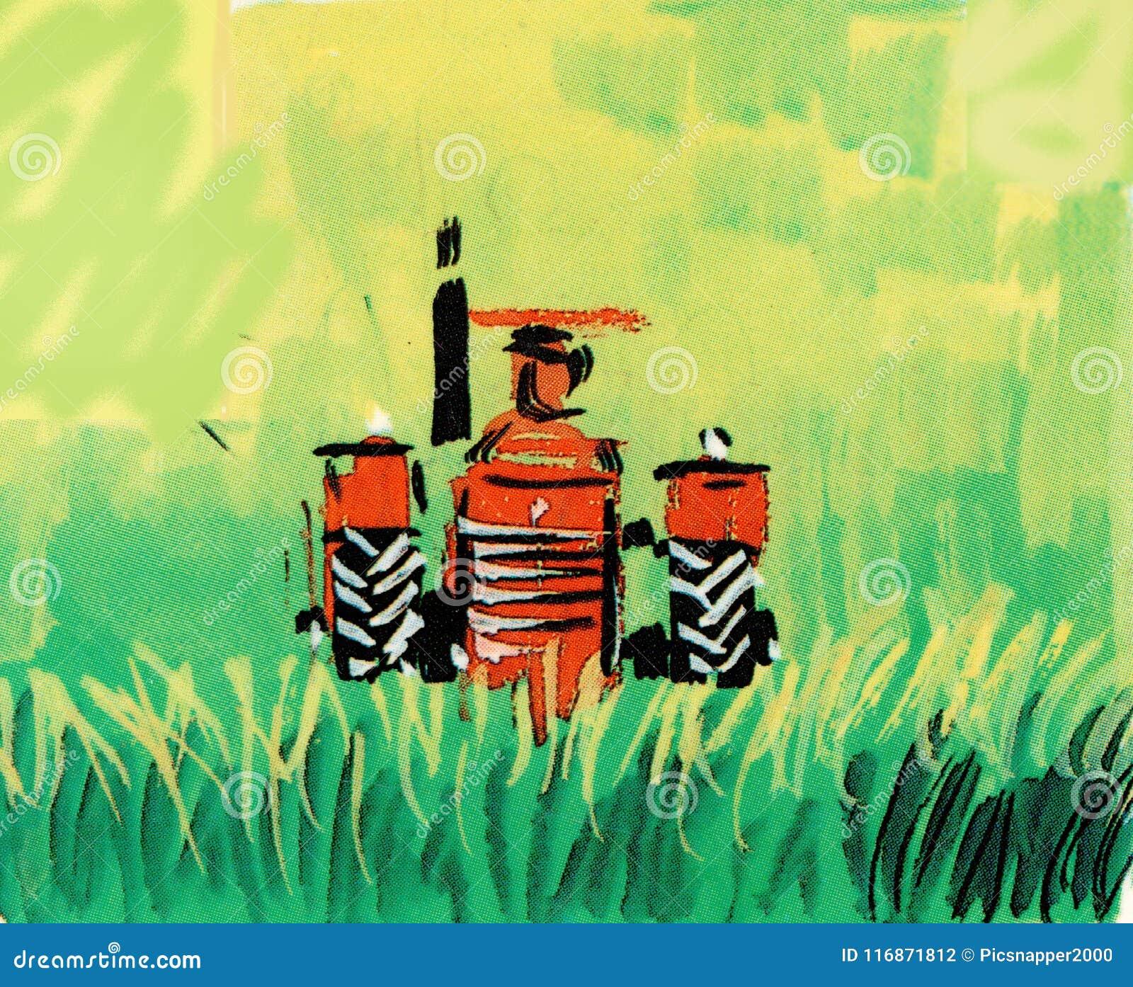 Tracteur rouge tiré par la main dans le domaine vert
