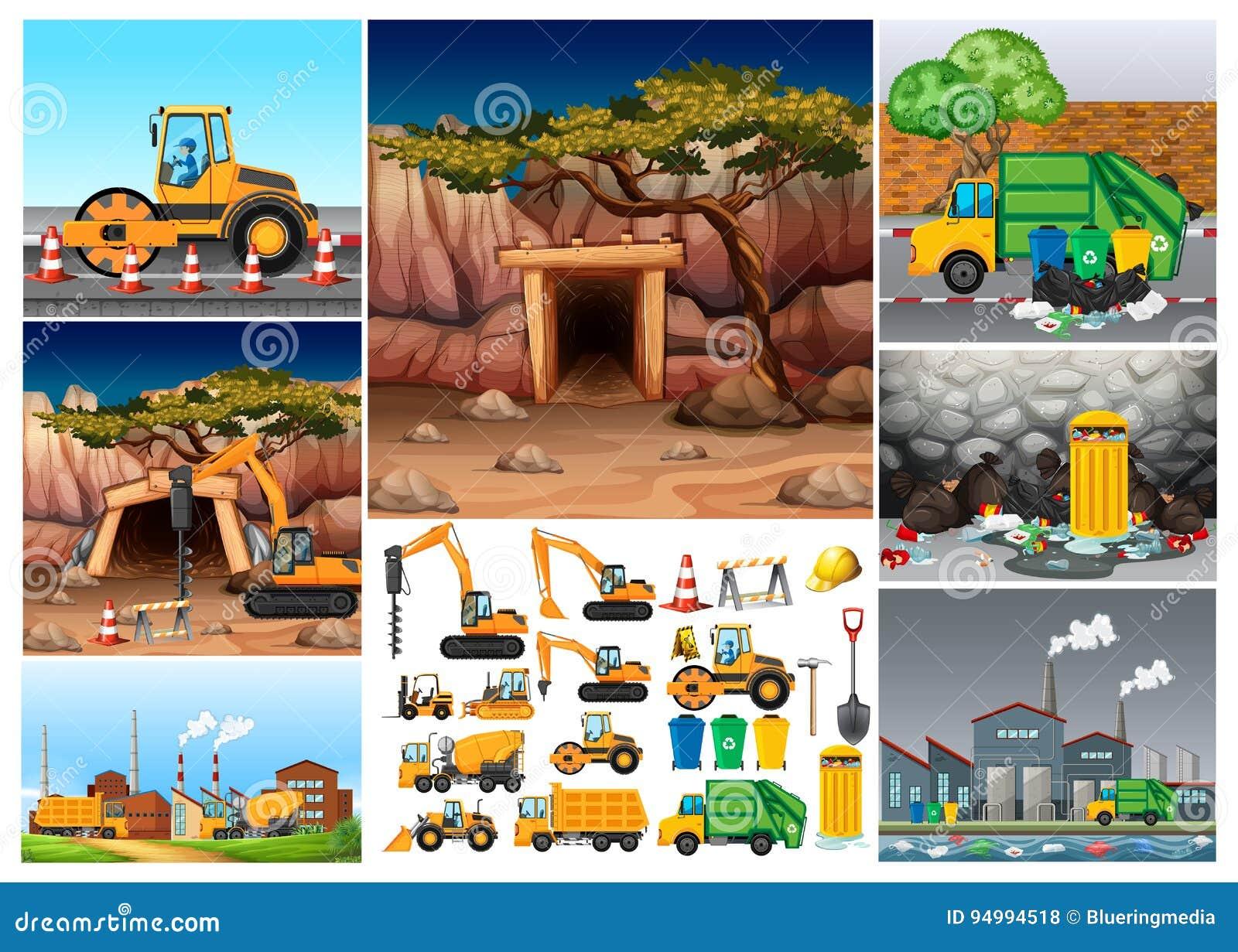 Tracteurs d excavatrice fonctionnant dans différents sites
