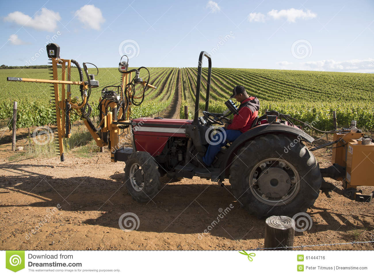 Tractor With Attachment For Trimming Vines Editorial Photo - Image