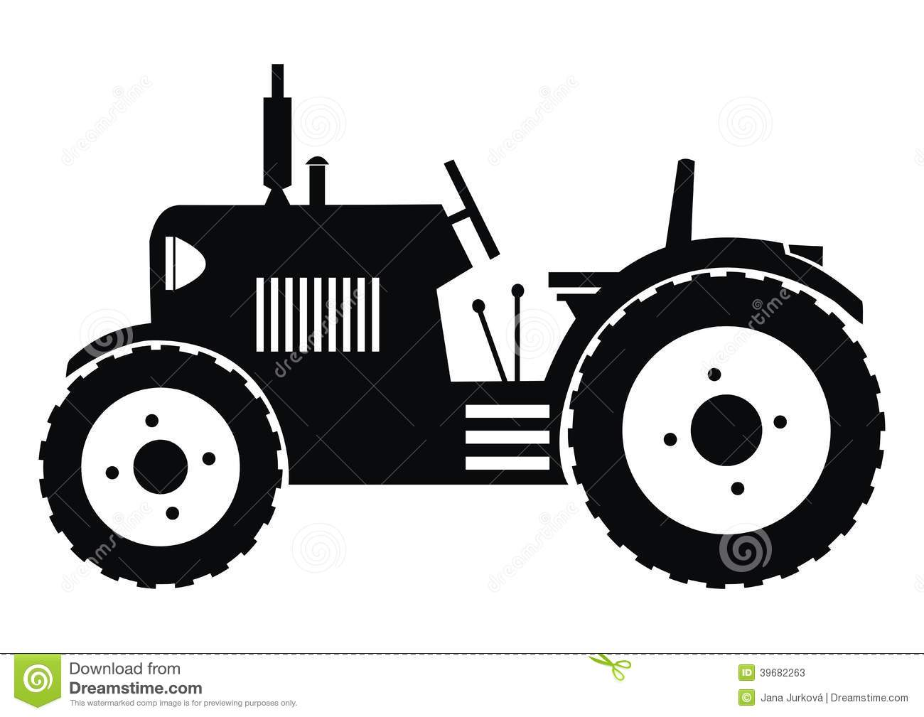 Black silhouette of a tractor on a white background.