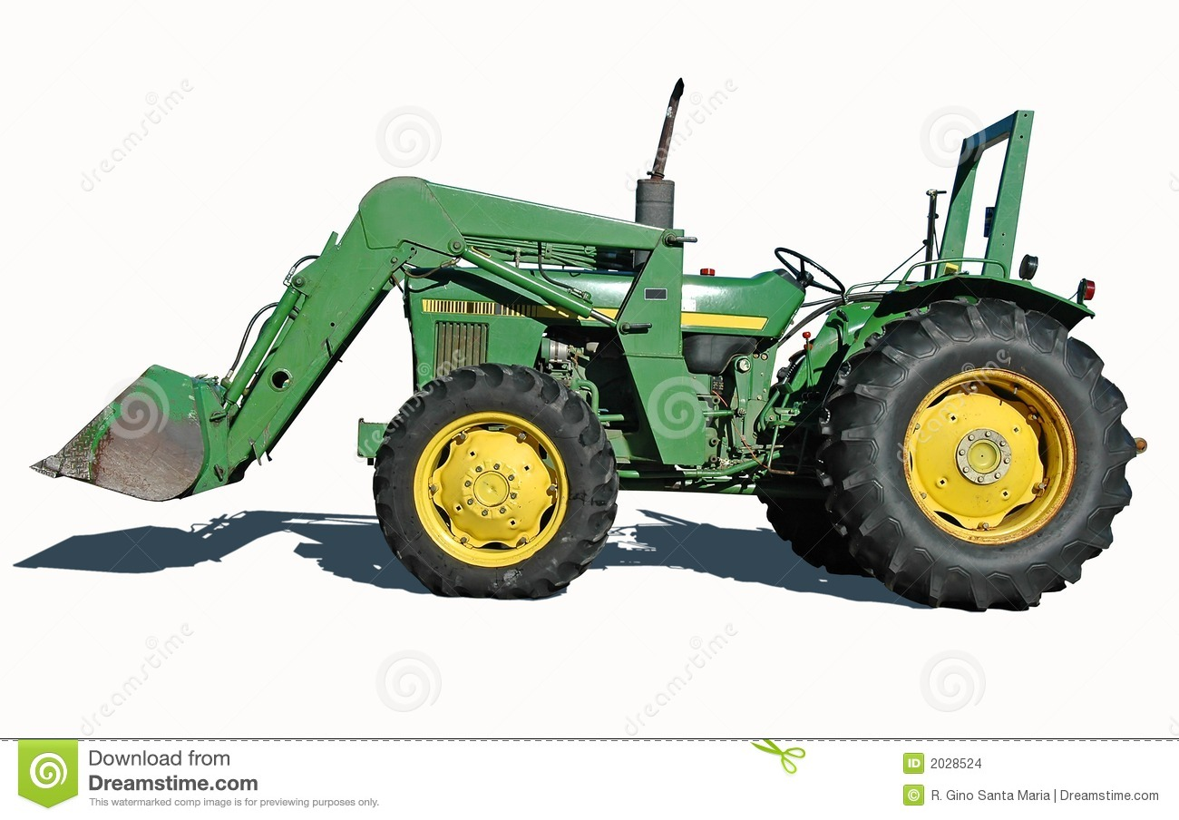 Up The Tractor Green Tractor With Bucket Cartoon : Tractor with bucket editorial stock image
