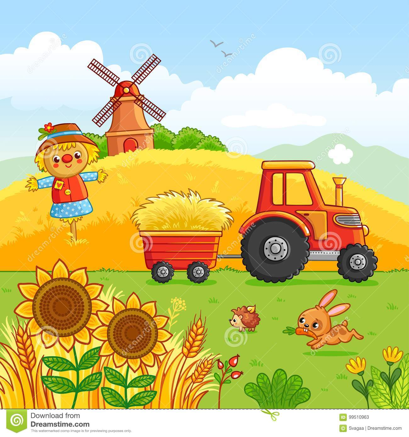 Hay Farmer Tractor Cartoon : Tractor cartoons illustrations vector stock images