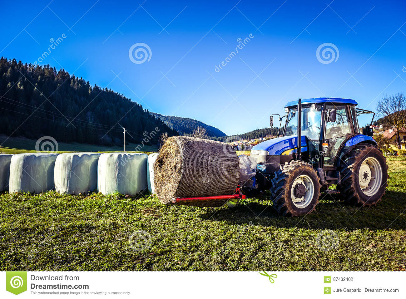 Hay Farmer Tractor Cartoon : Tractor hay bale cartoon vector cartoondealer