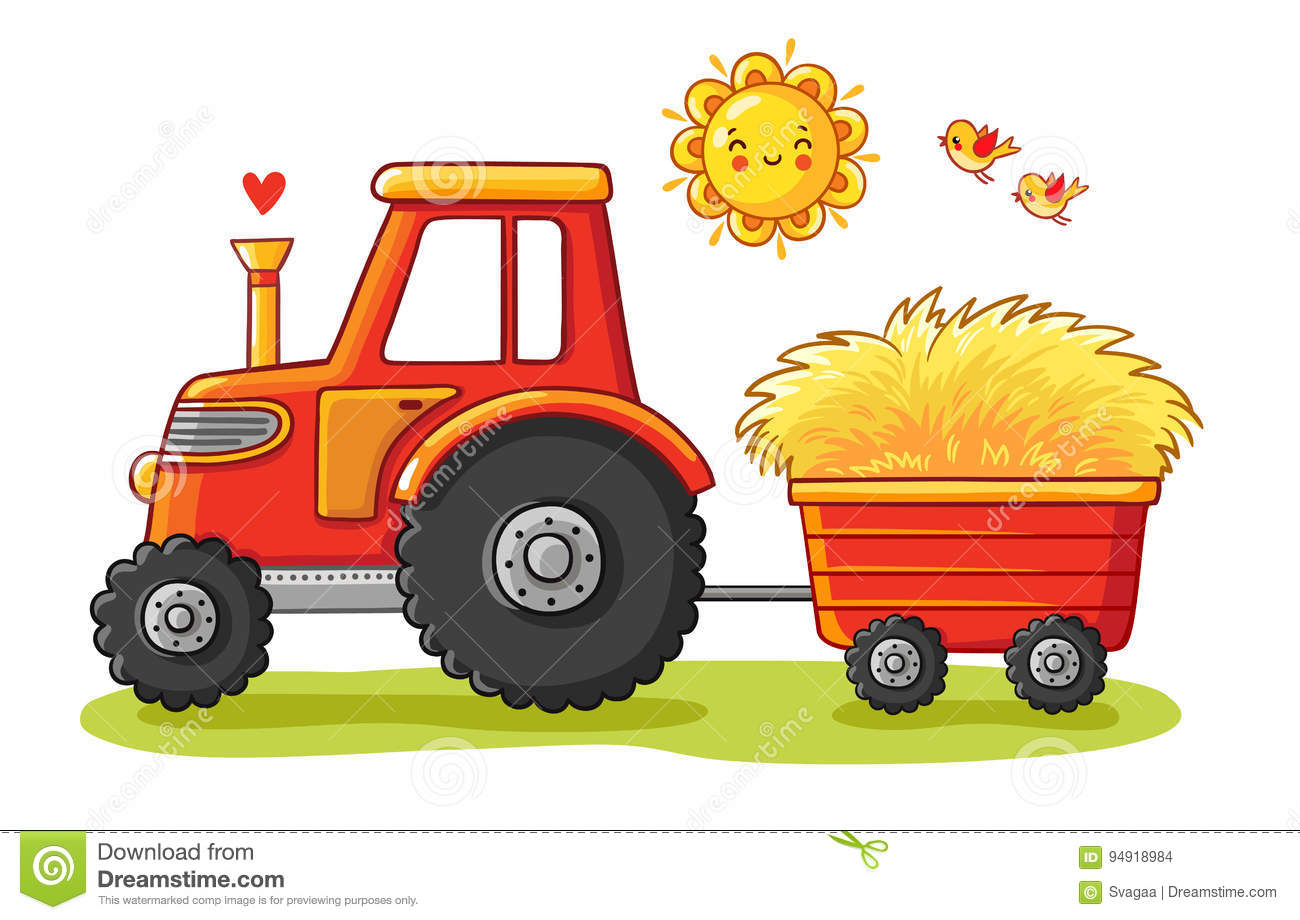 Tractor with a cart.
