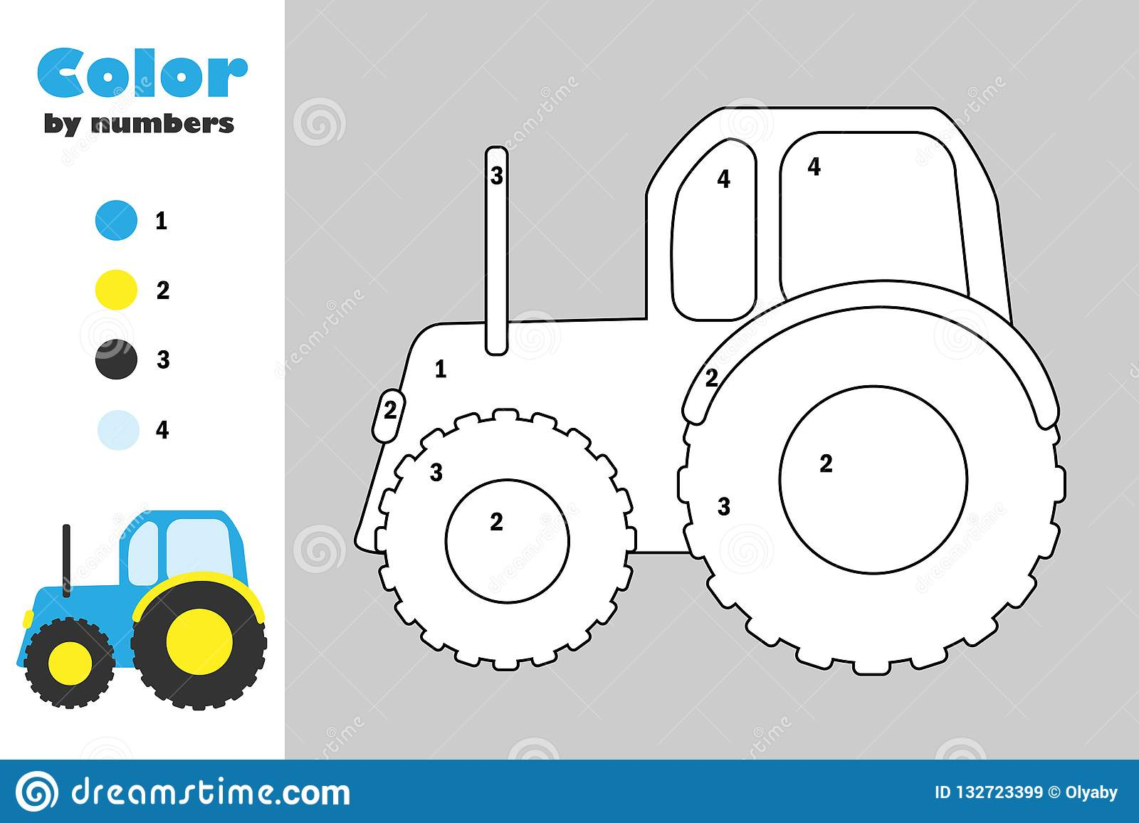 Tractor In Cartoon Style, Color By Number, Education Paper Game ...