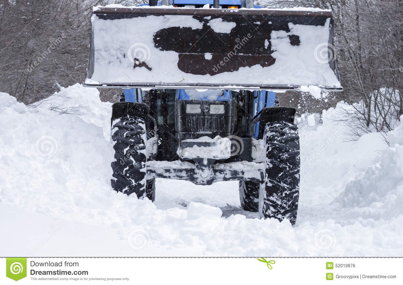 Tractor clearing snow stock photo  Image of plow, hazard