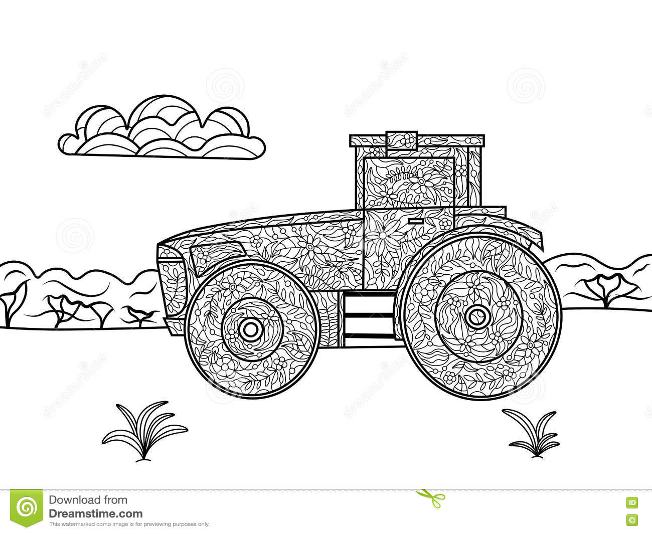 Tractor Coloring Book For Adults Vector Stock Vector - Illustration ...