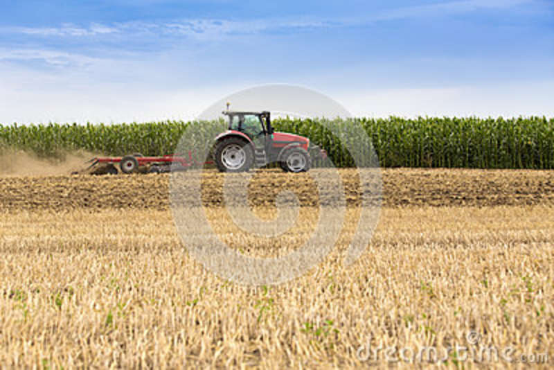 Download Tractor Cultivating Wheat Stubble Field, Crop Residue Stock Photo - Image of agriculture, dirt: 43075878