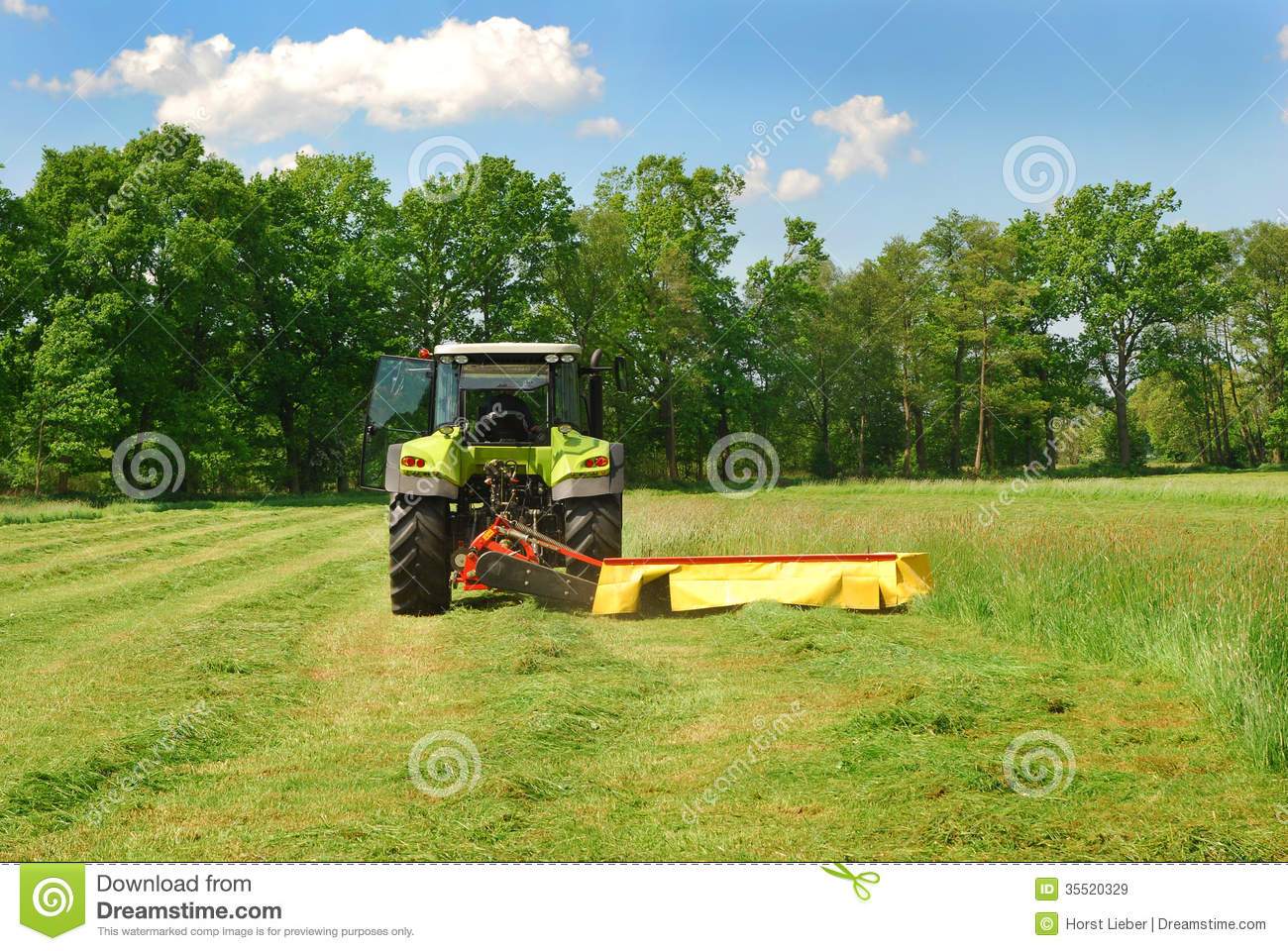 Tractor Cutting Grass Meadow Stock Image Image Of