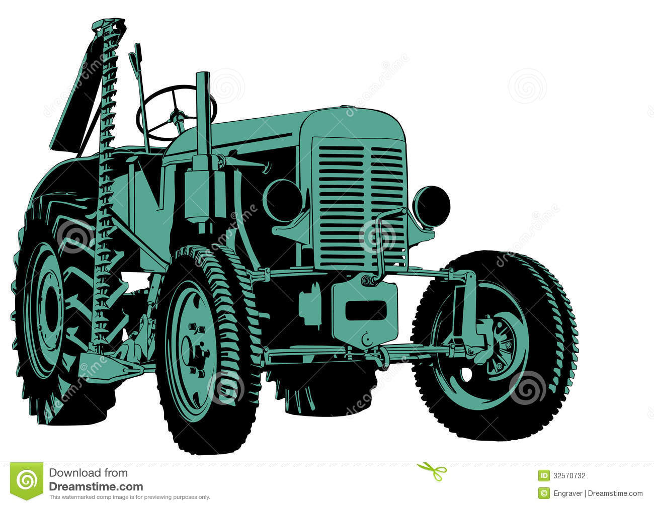 Tractor Cutting Illustration Vector Agriculture