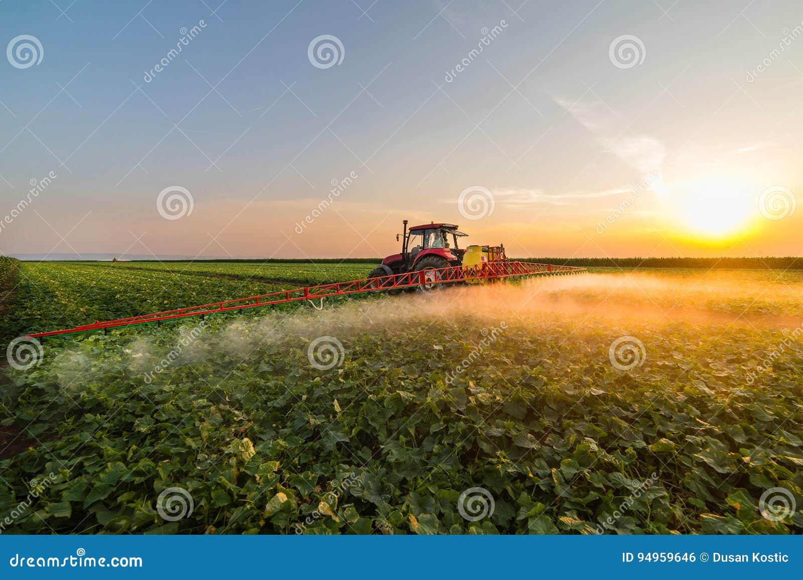 Tractor die plantaardig gebied bespuiten bij de lente
