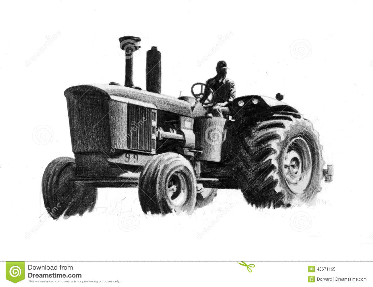 tractor drawing stock illustration image 45671165