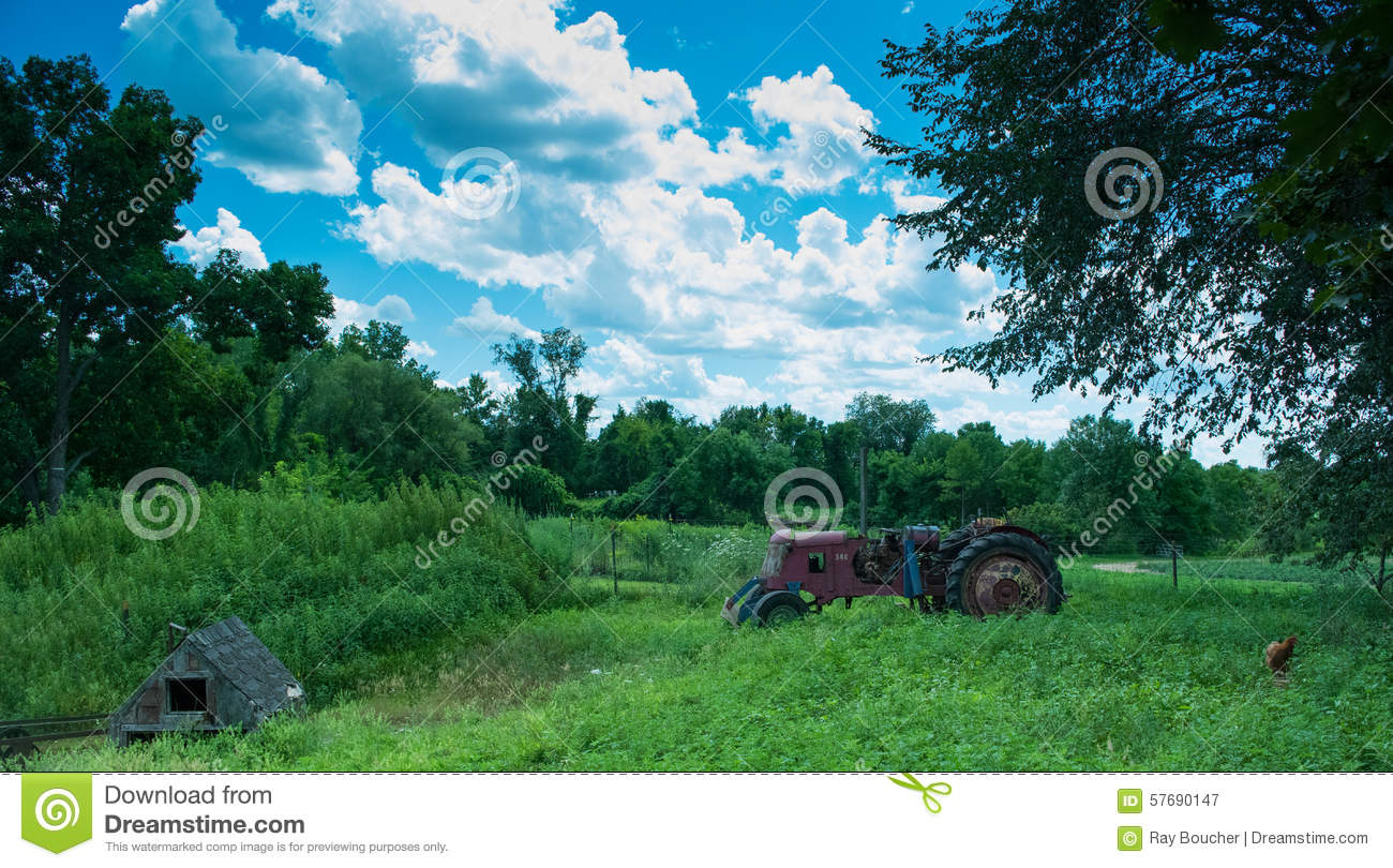 Tractor On The Farm. Stock Image. Image Of Grass, Trees