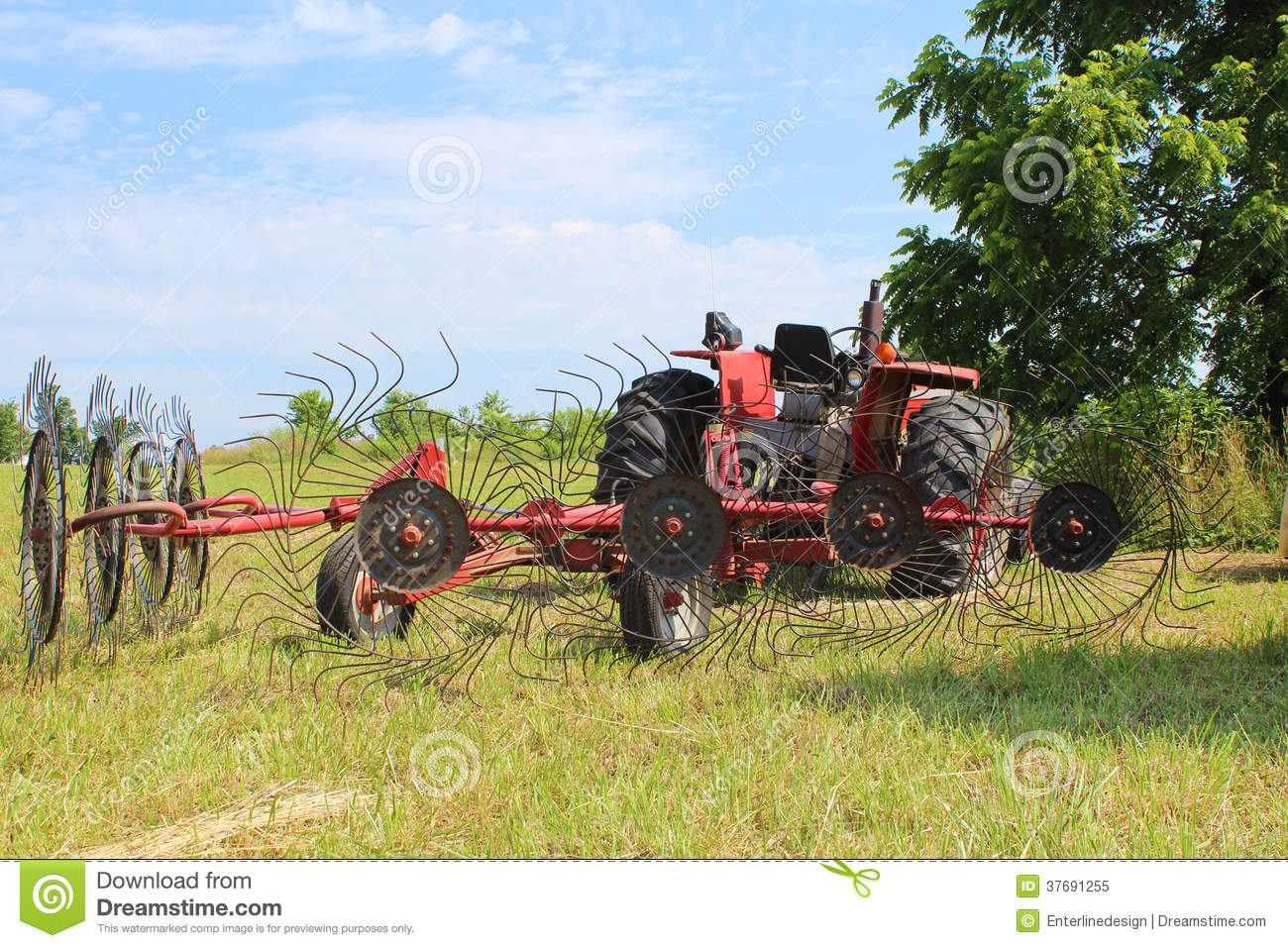 Hay Farmer Tractor Cartoon : Tractor rake royalty free stock photography