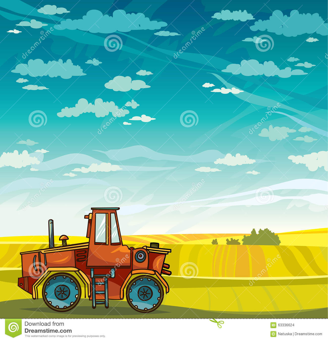 Up The Tractor Green Tractor With Bucket Cartoon : Tractor and field vector rural landscape stock