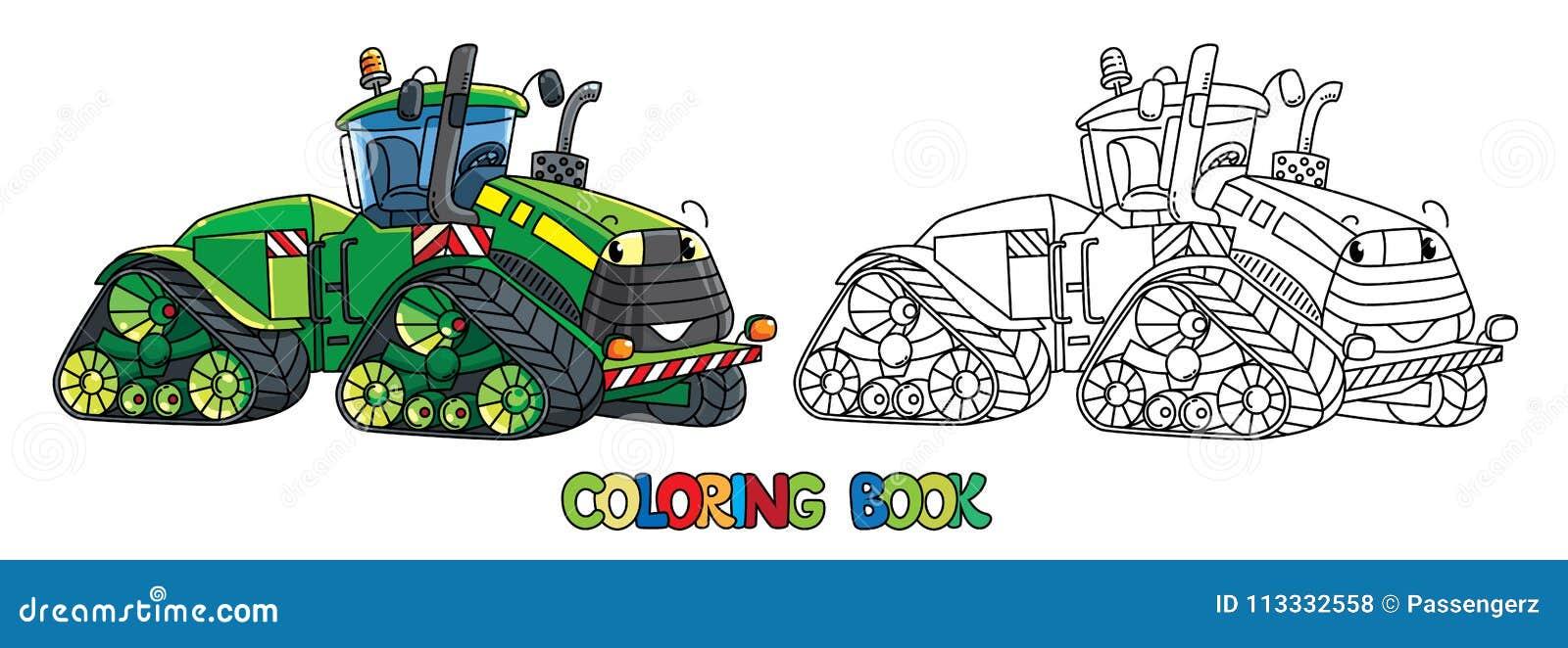 Tractor Grande Divertido Con Los Ojos Libro De Colorante Ilustración ...
