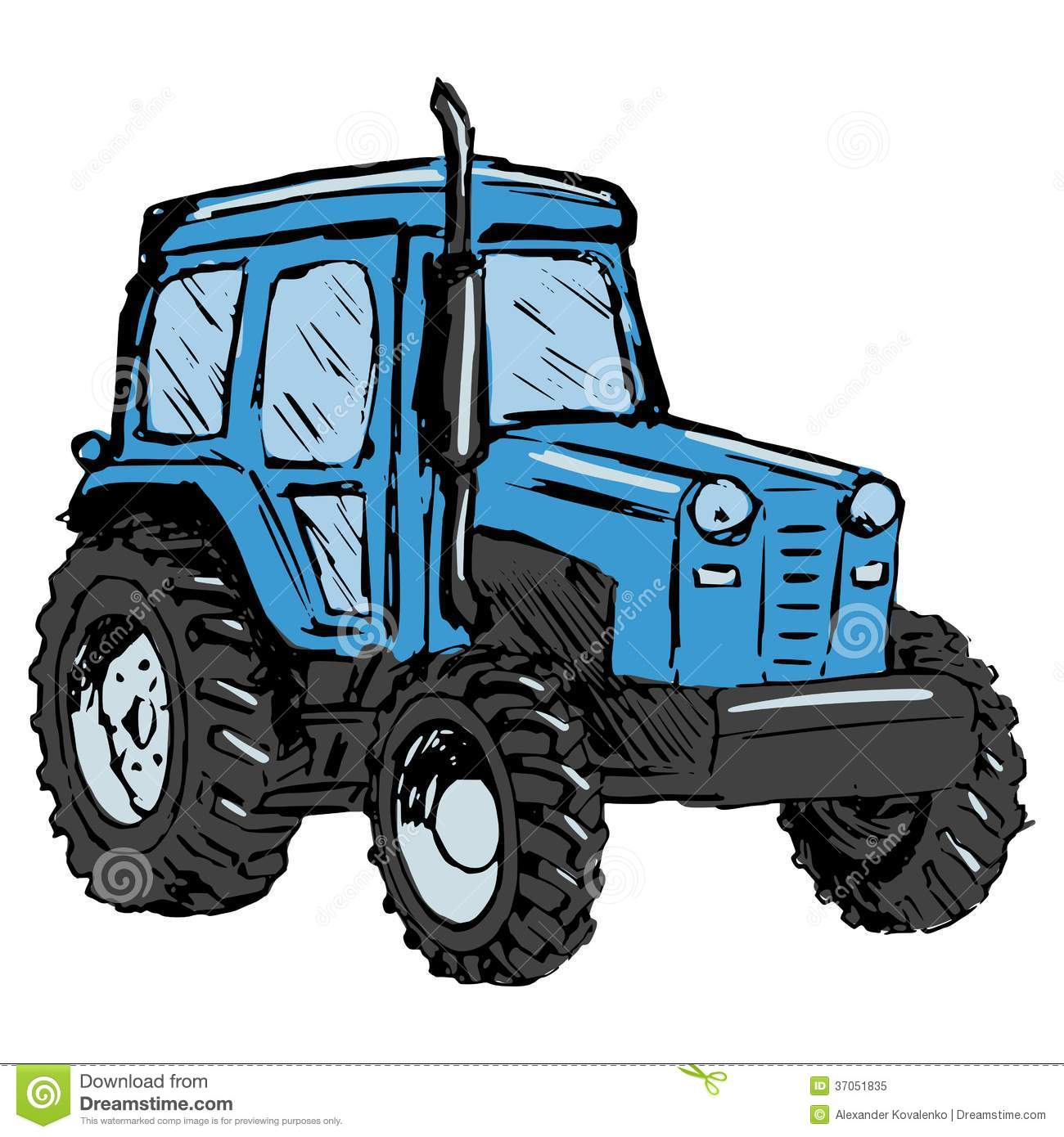 Up The Tractor Green Tractor With Bucket Cartoon : Tractor stock vector image of industry wheat white