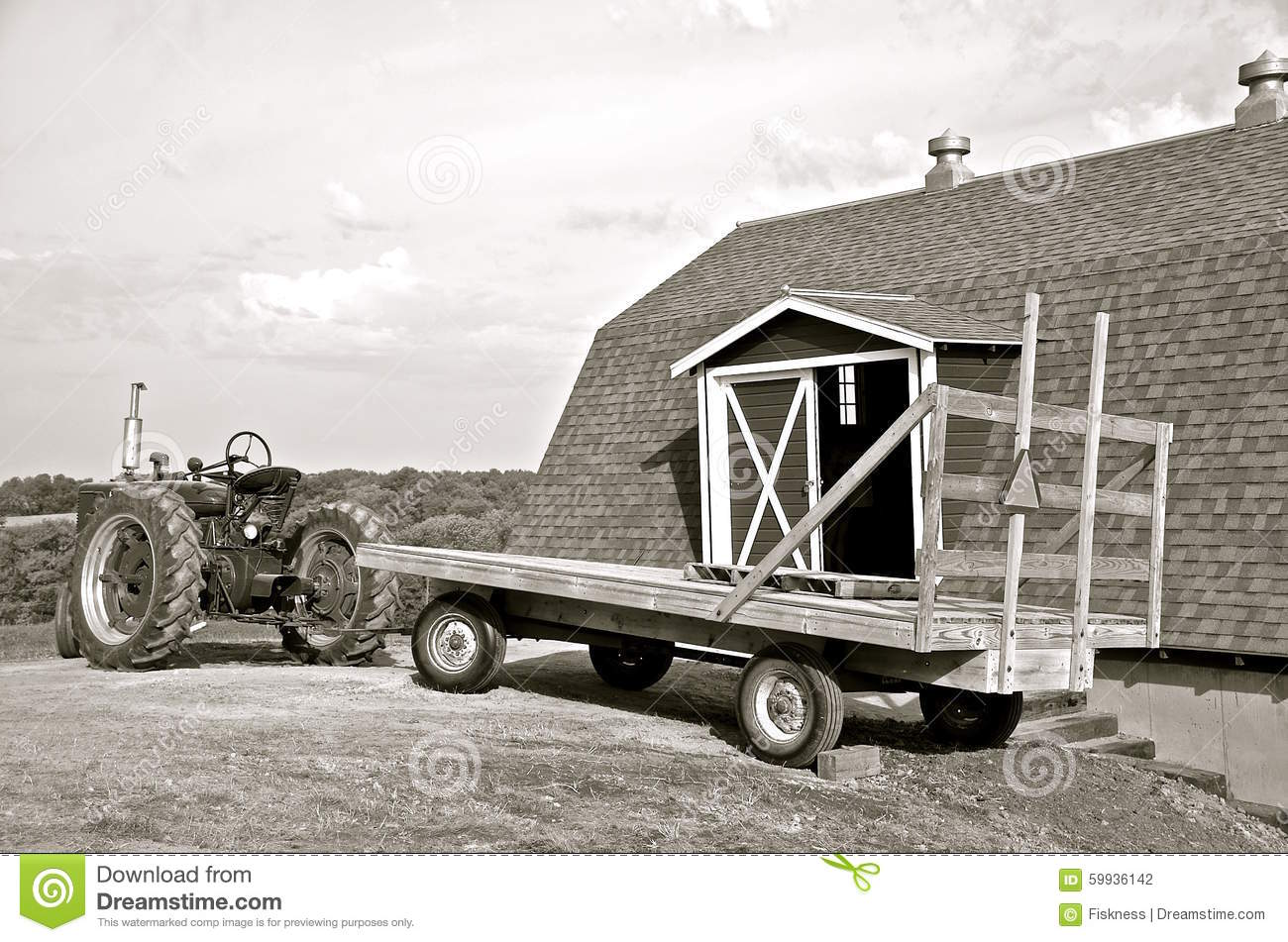 Black White An D Tractor Pulling Wagon : Tractor hay rack and barn black white stock photo