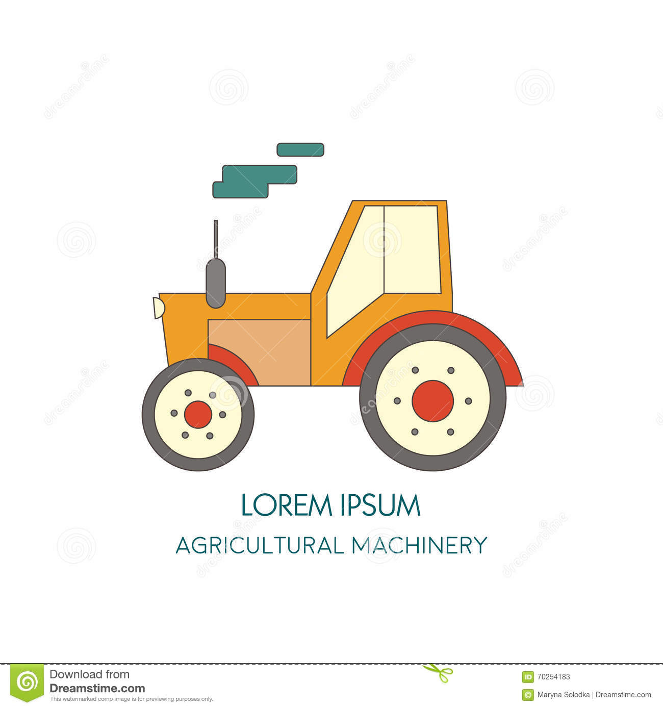Agricultural Machinery Design : Tractor icon agricultural machinery vector illustration
