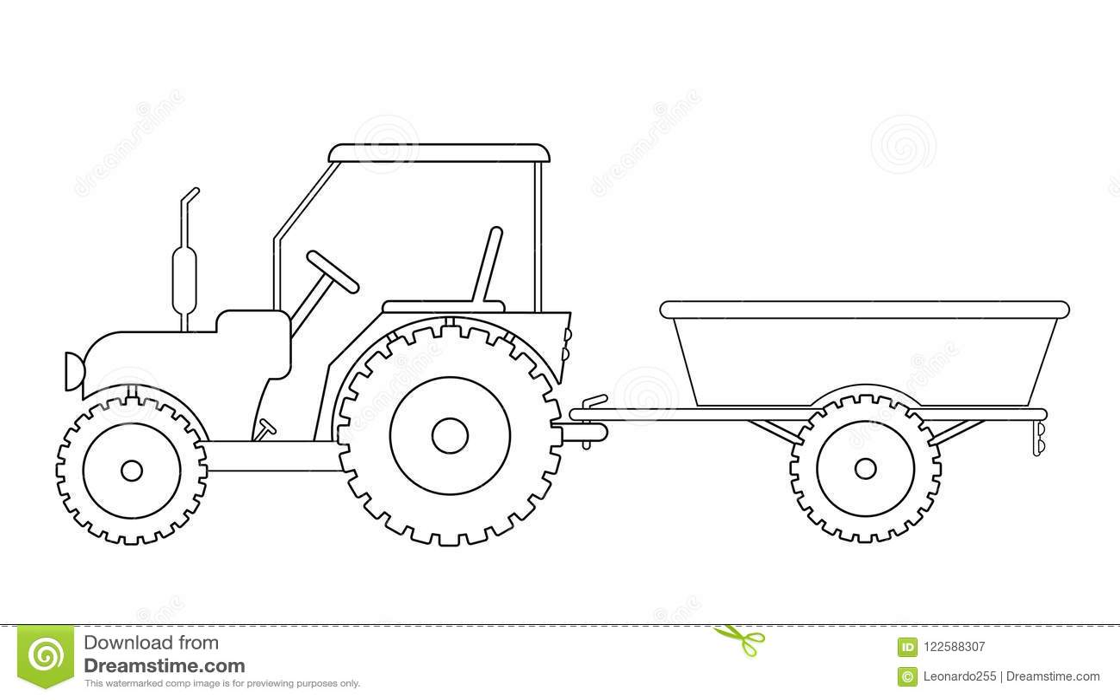 tractor met aanhangwagentekening vector illustratie