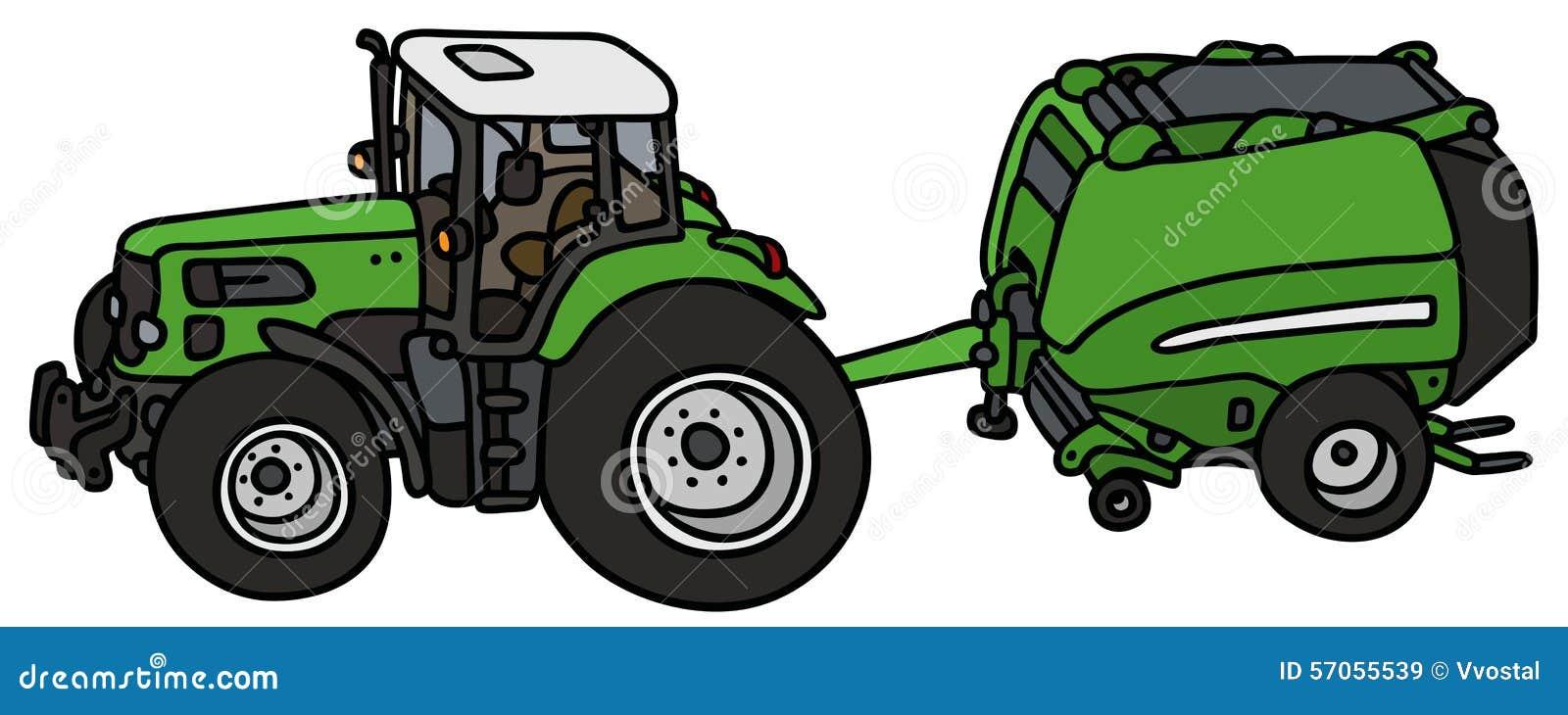 Tractor met een hooibindmiddel