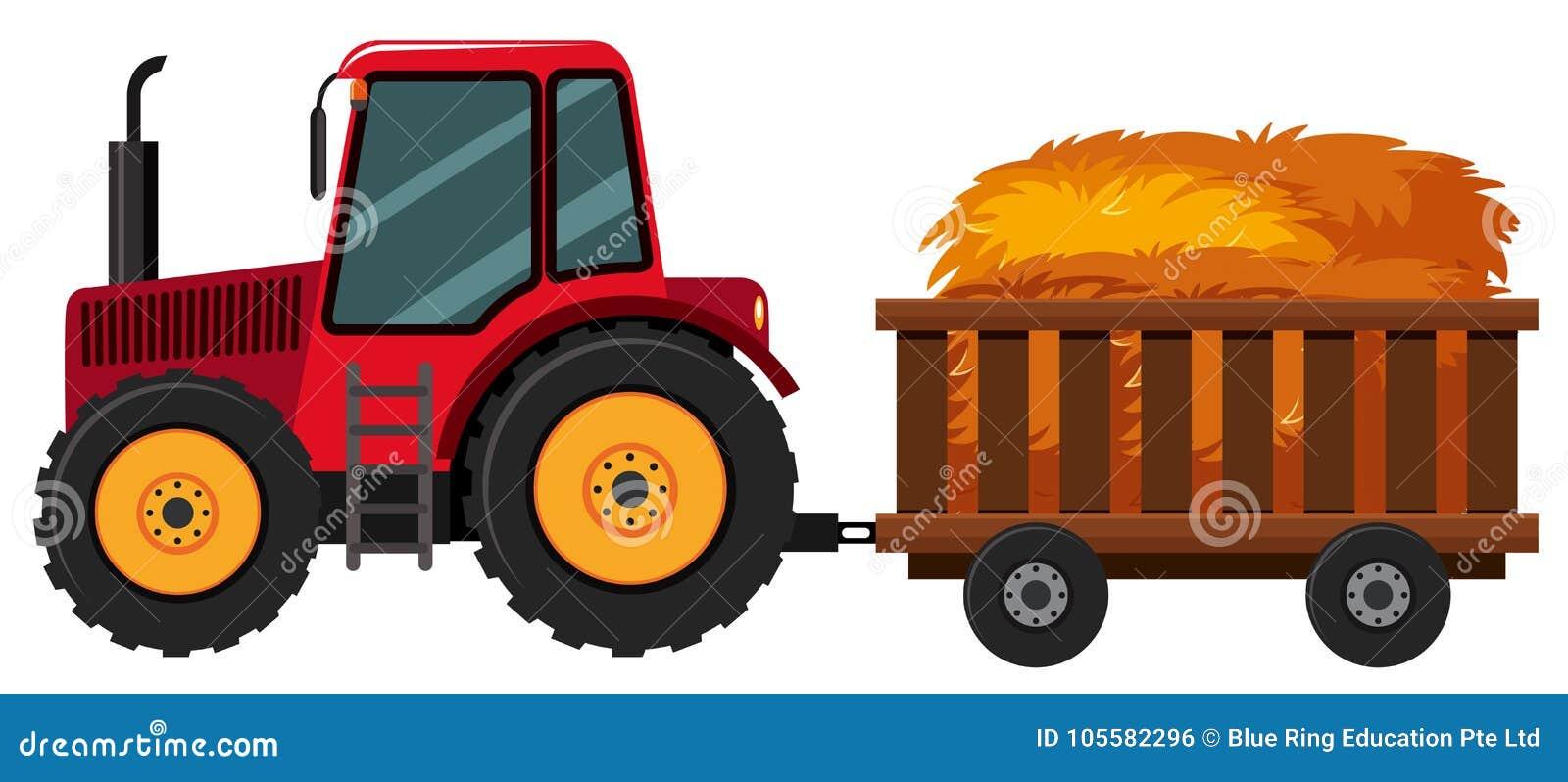 Tractor met hooi in de kar