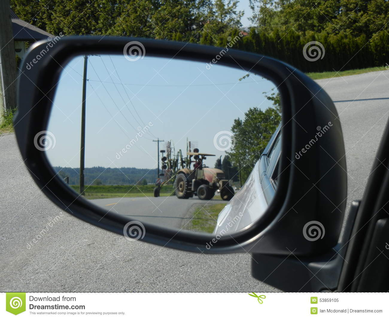 Tractor Side Mirrors : Tractor in the mirror stock photo image