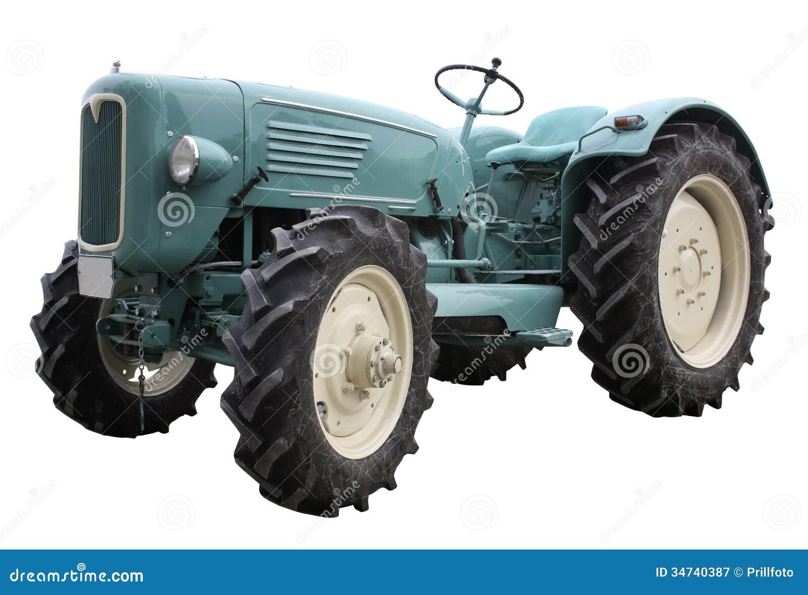 Tractor nostálgico en parte posterior del blanco
