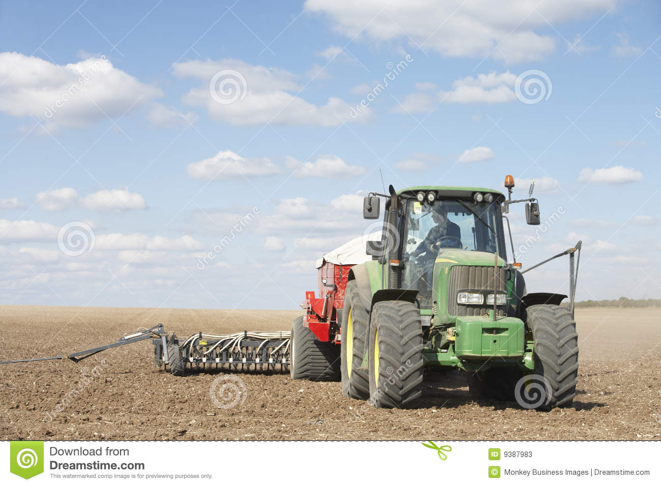 Tractor In Field Planting : Tractor planting seed in field stock photos image
