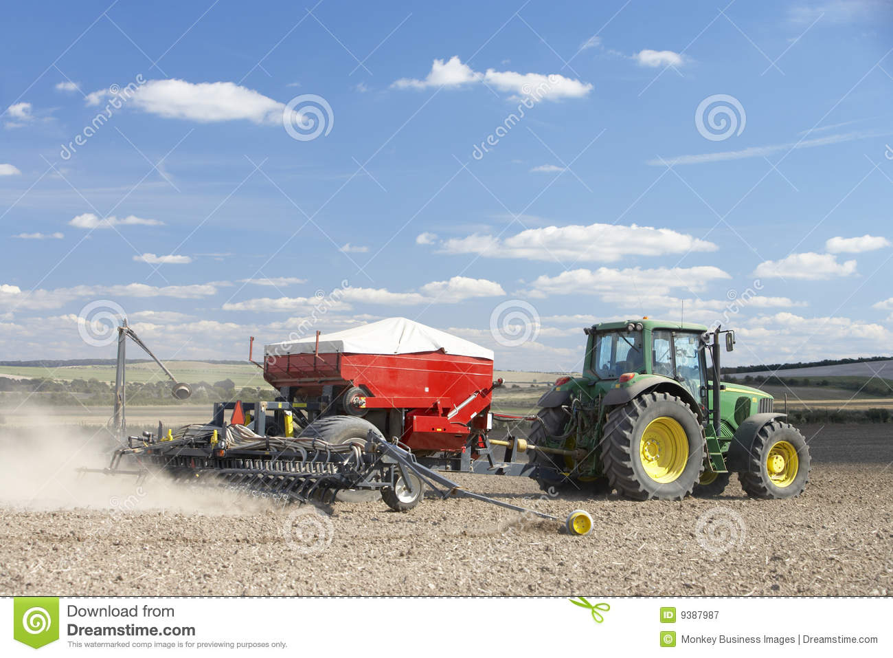 Tractor In Field Planting : Tractor planting seed in field editorial photography