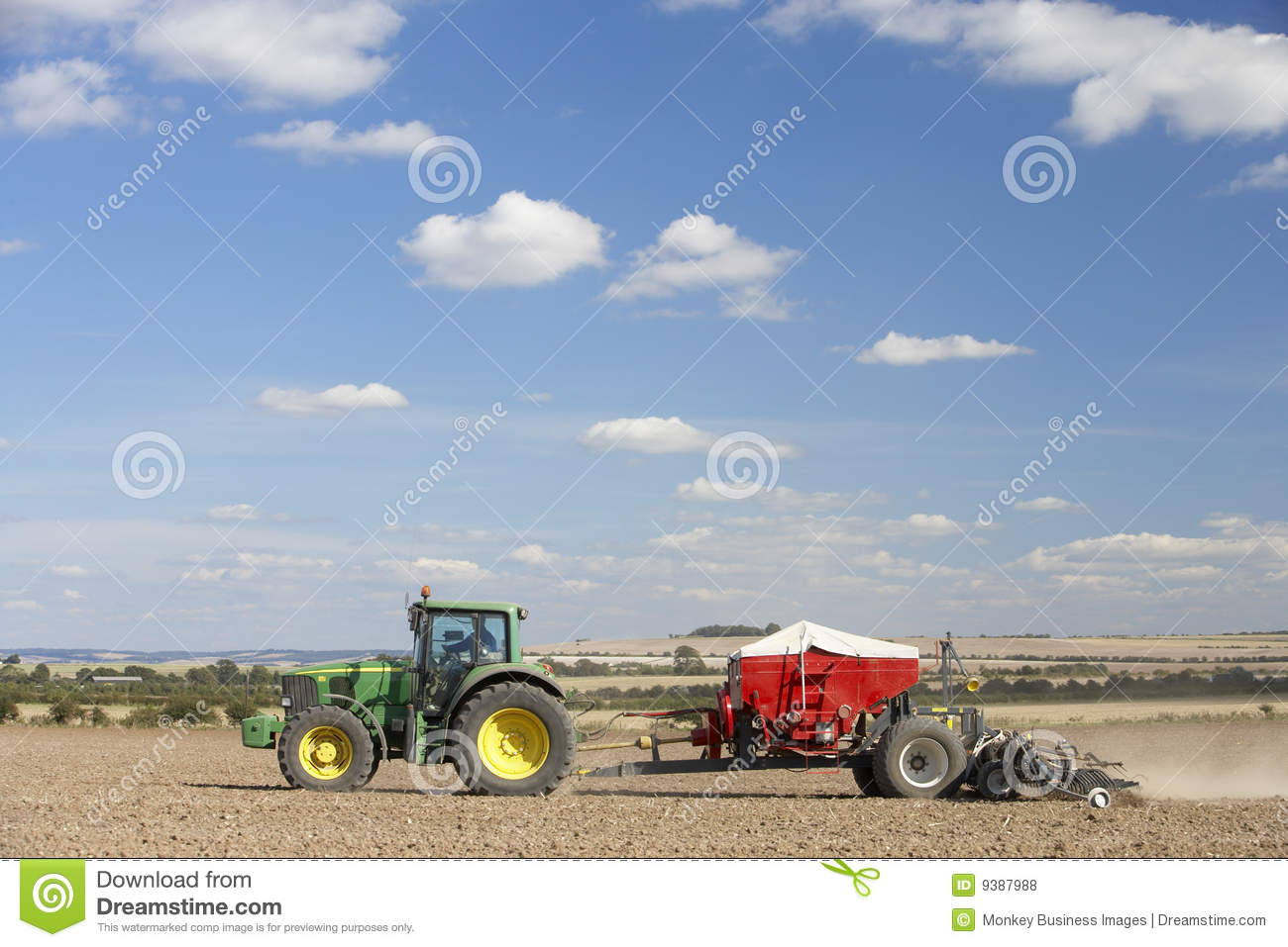 Tractor In Field Planting : Tractor planting seed in field royalty free stock photos