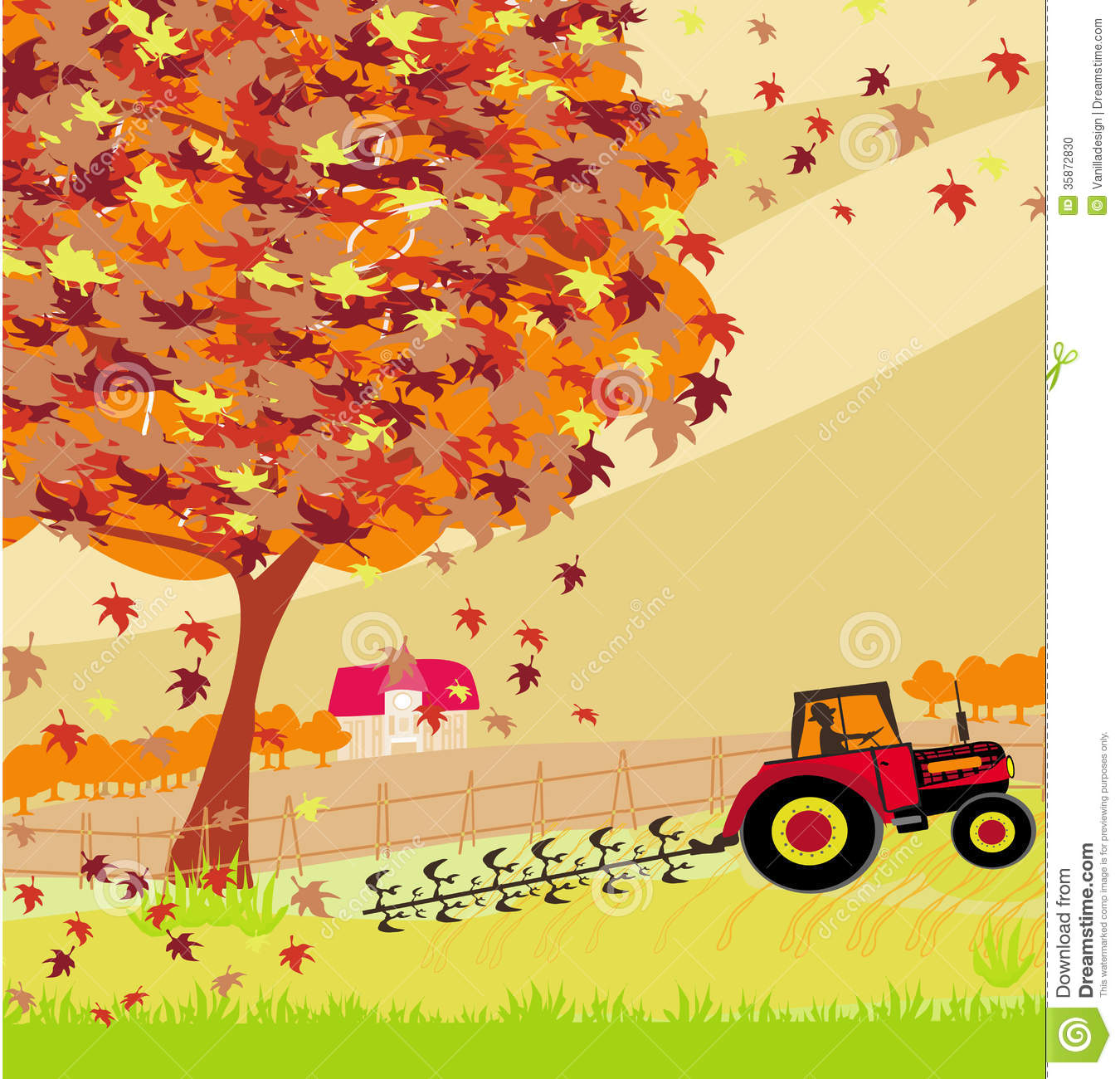 tractor plowing field in autumn stock photo image 35872830
