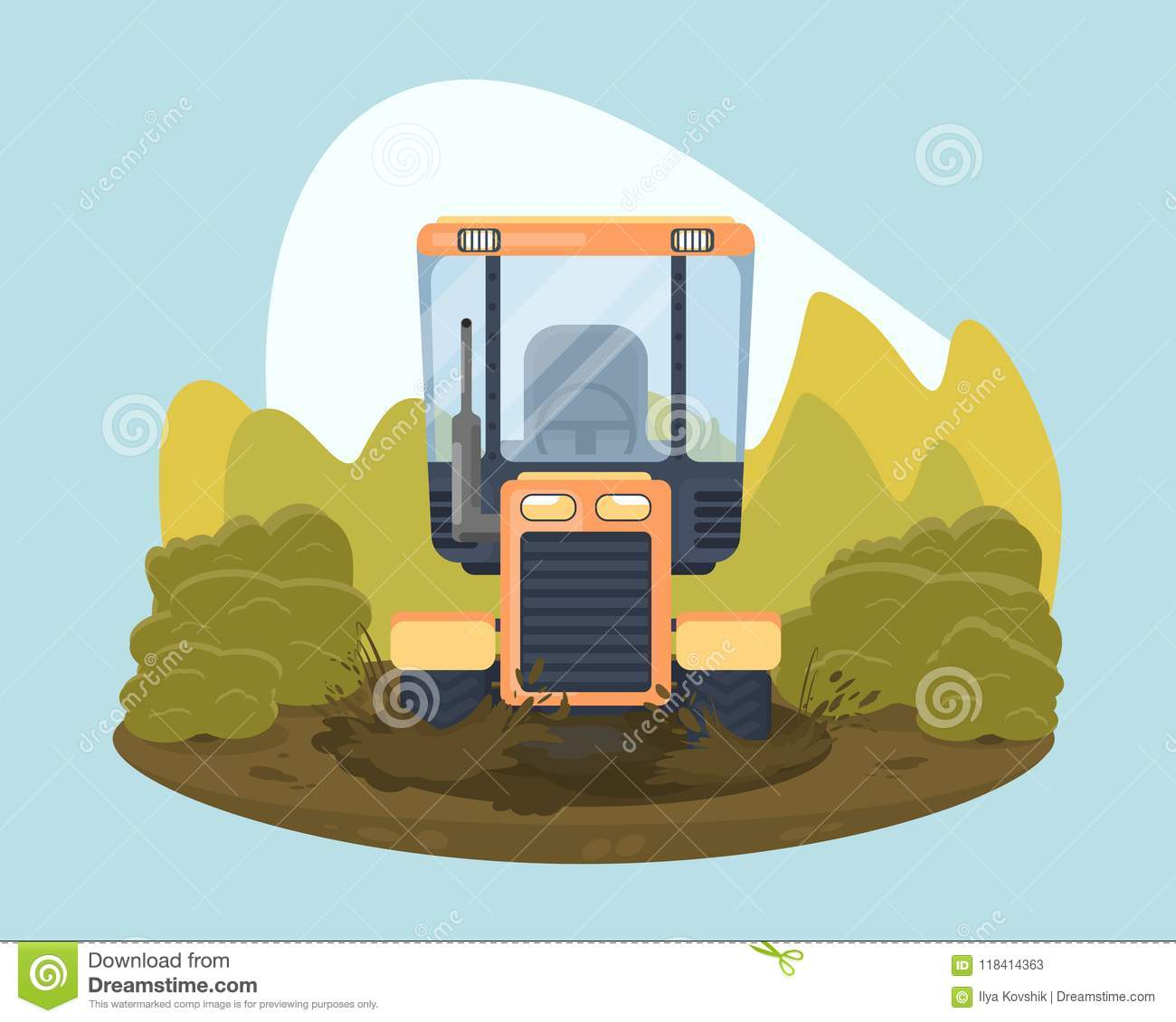 Tractor Race Sport Show Farm Tractor Stock Vector Illustration - Car show barriers
