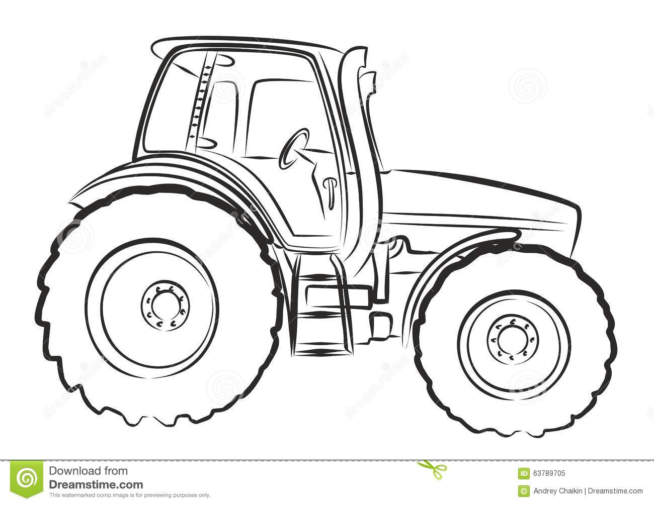 tractor sketch  stock vector