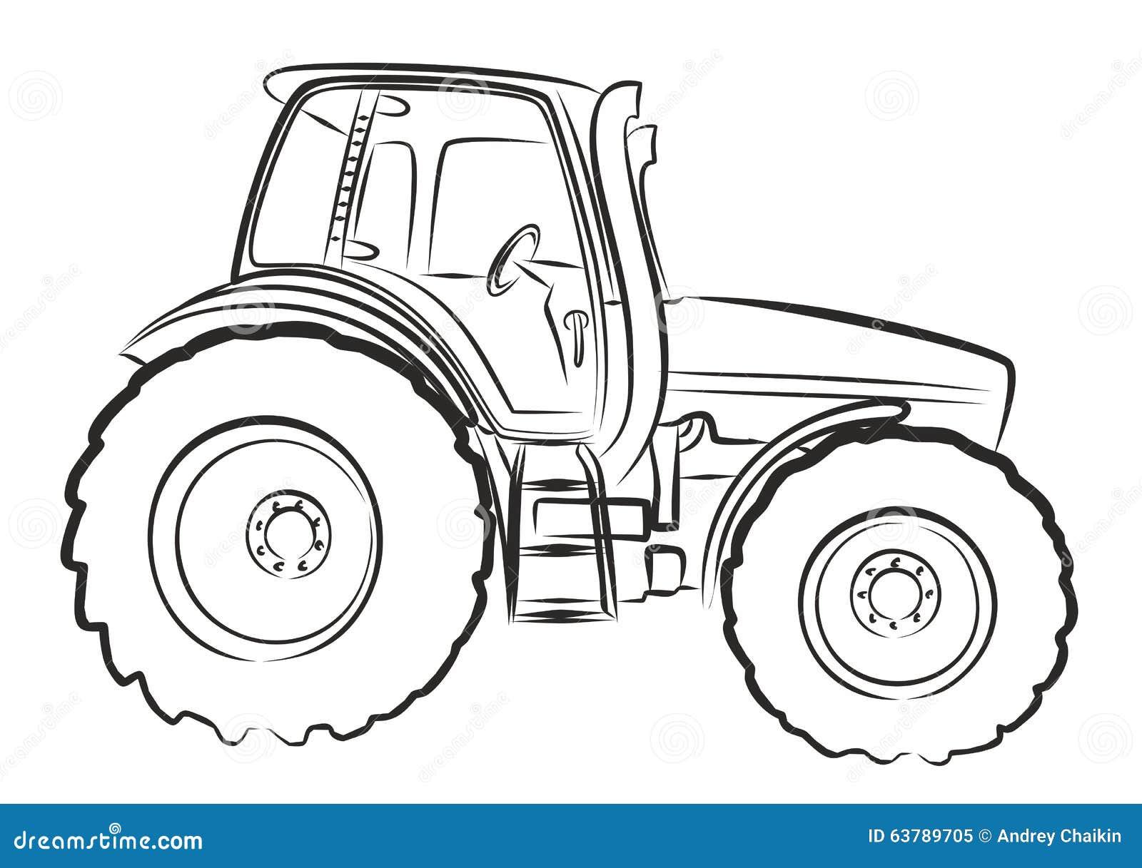 tractor sketch stock vector  image 63789705