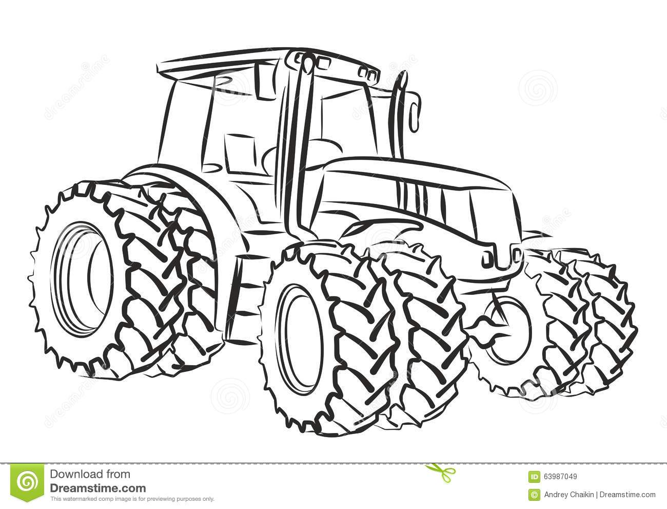 Stock Illustration Tractor Sketch Heavy Image63987049