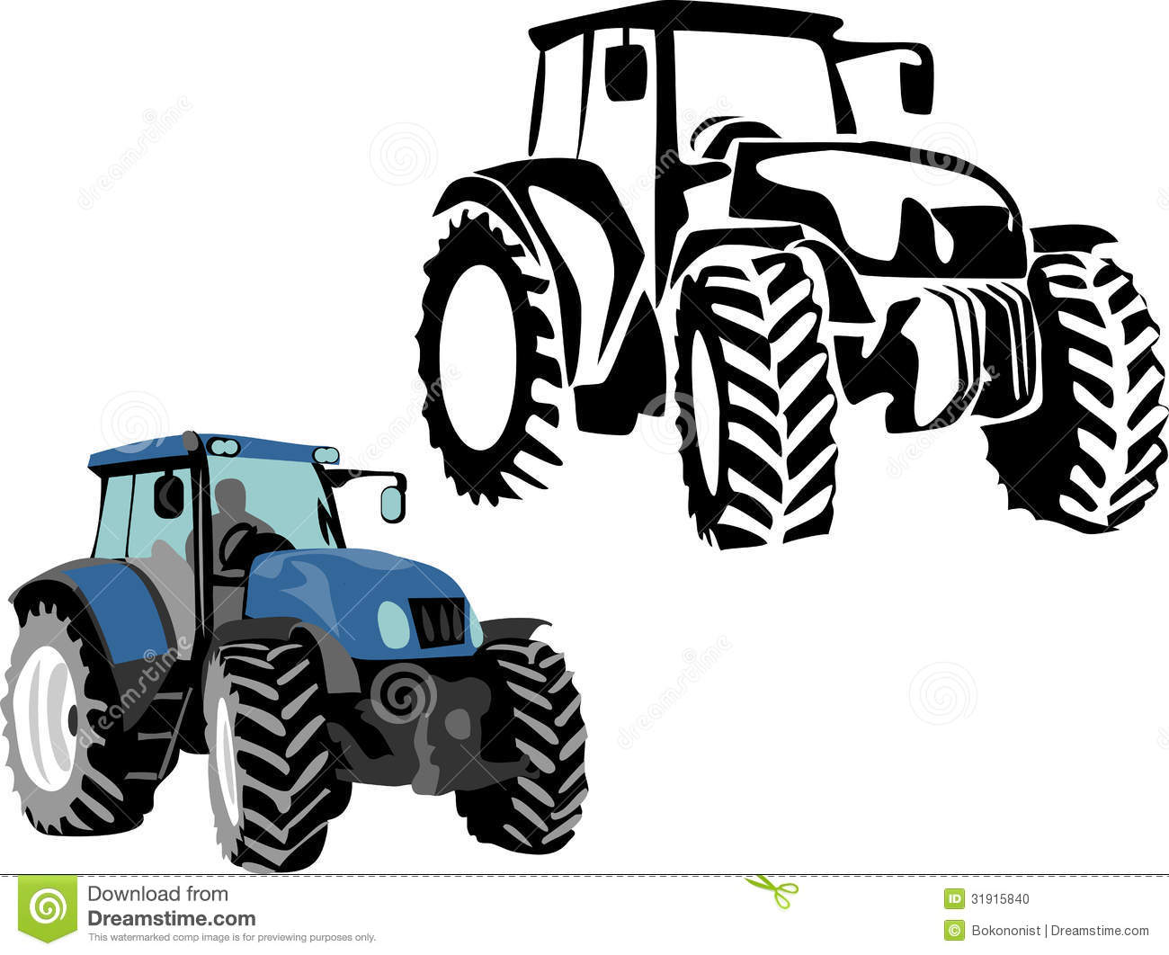 Clipart Tractor Tractor - stylized black and