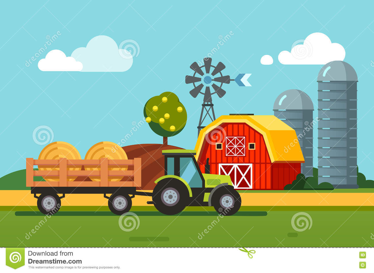 Hay Farmer Tractor Cartoon : Tractor towing hay bales loaded to a trailer stock vector
