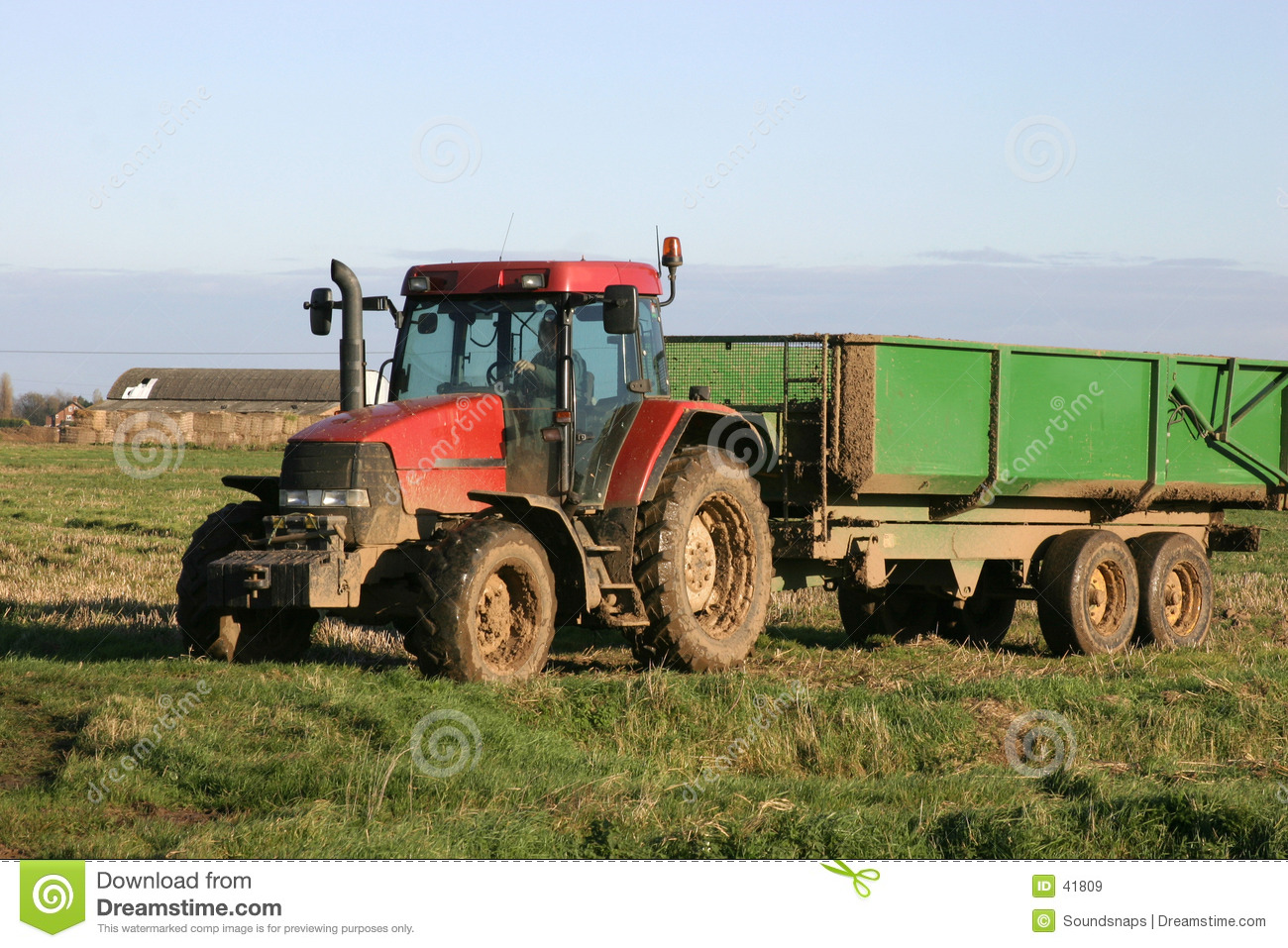 Tractor and Trailer on Farm